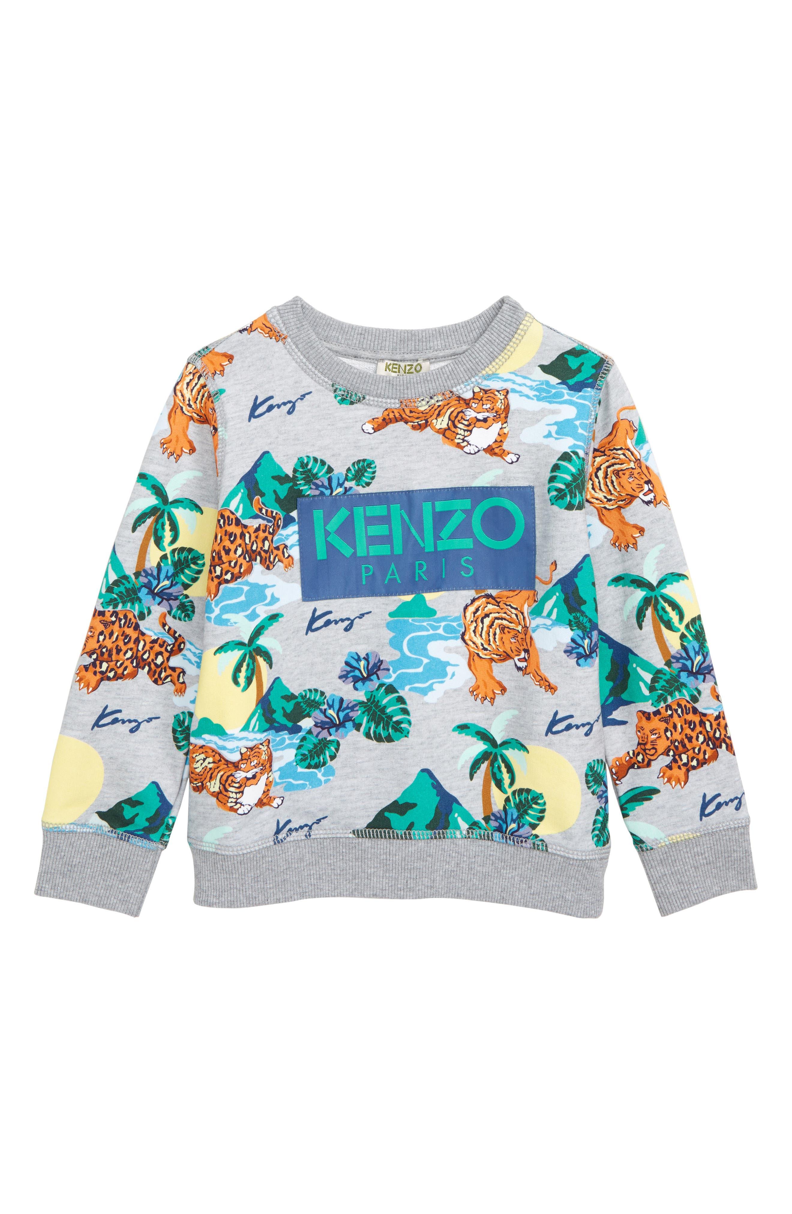 KENZO, Tropical Print Sweatshirt, Main thumbnail 1, color, MARL GREY