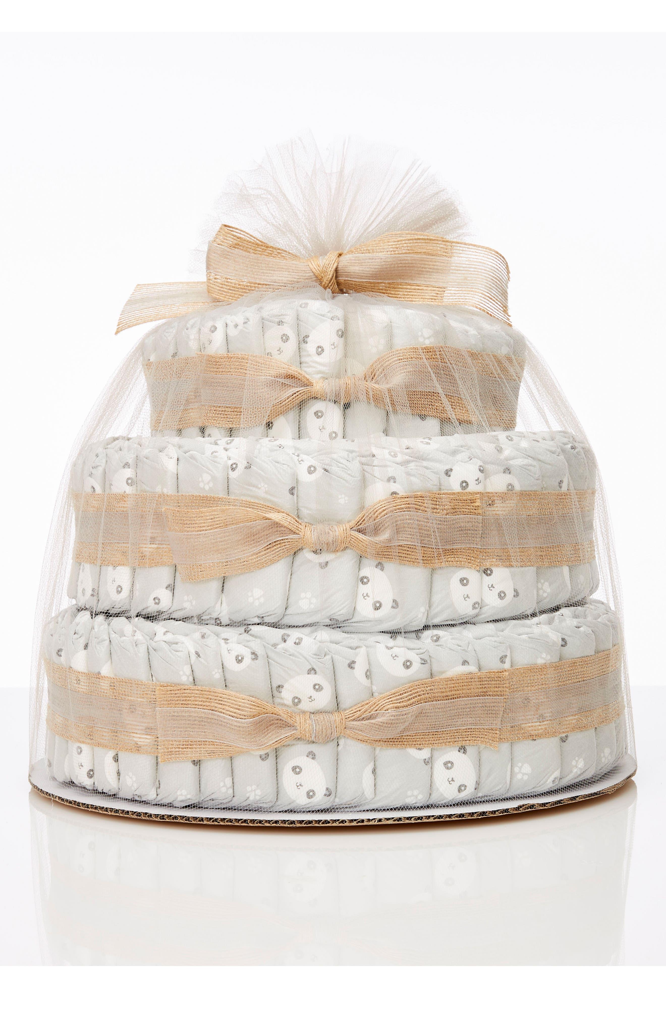 THE HONEST COMPANY, Large Diaper Cake & Full-Size Essentials Set, Main thumbnail 1, color, PANDAS