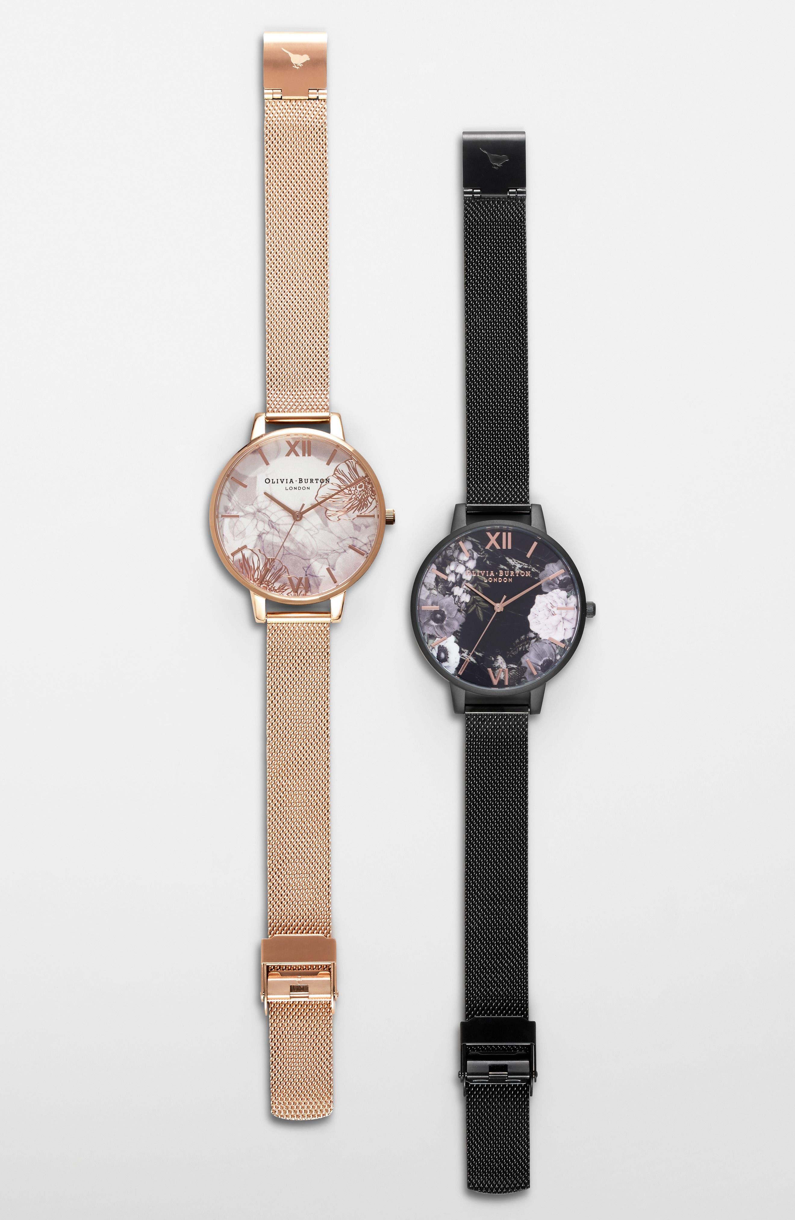 OLIVIA BURTON, Oliva Burton Abstract Florals Mesh Bracelet Watch, 38mm, Alternate thumbnail 7, color, ROSE GOLD