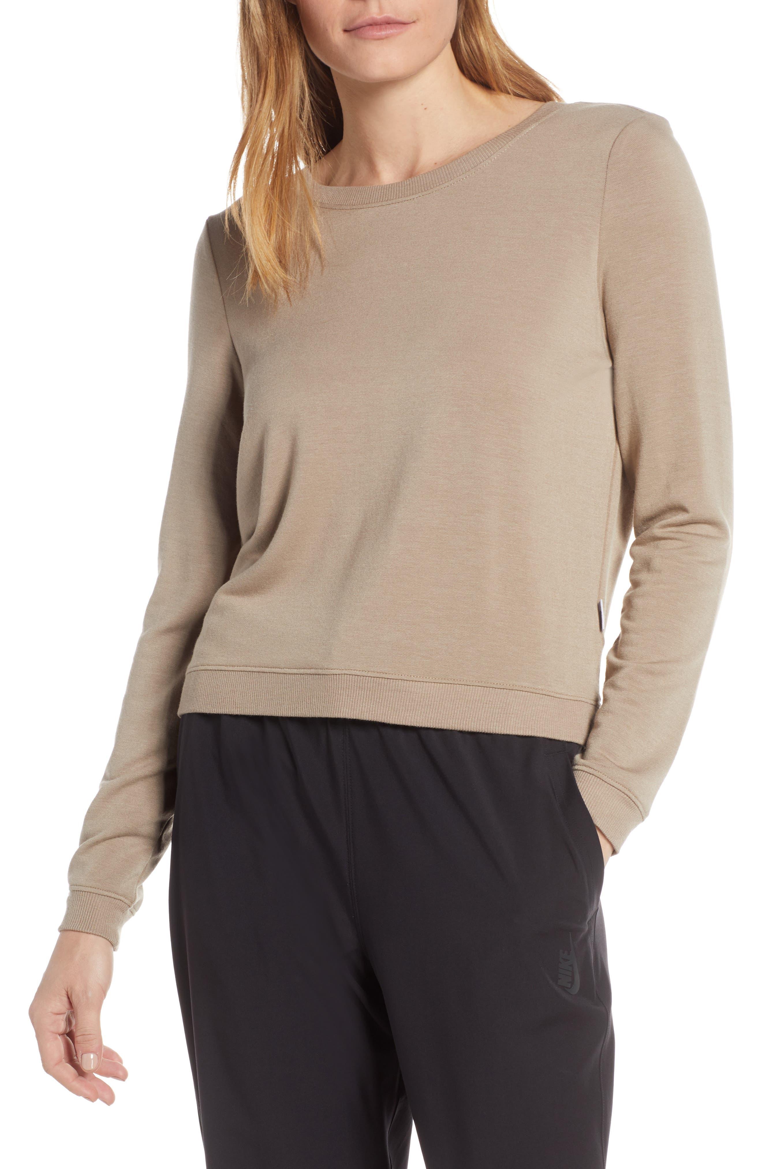 GOOD AMERICAN Plunge Back Sweatshirt, Main, color, LATTE001