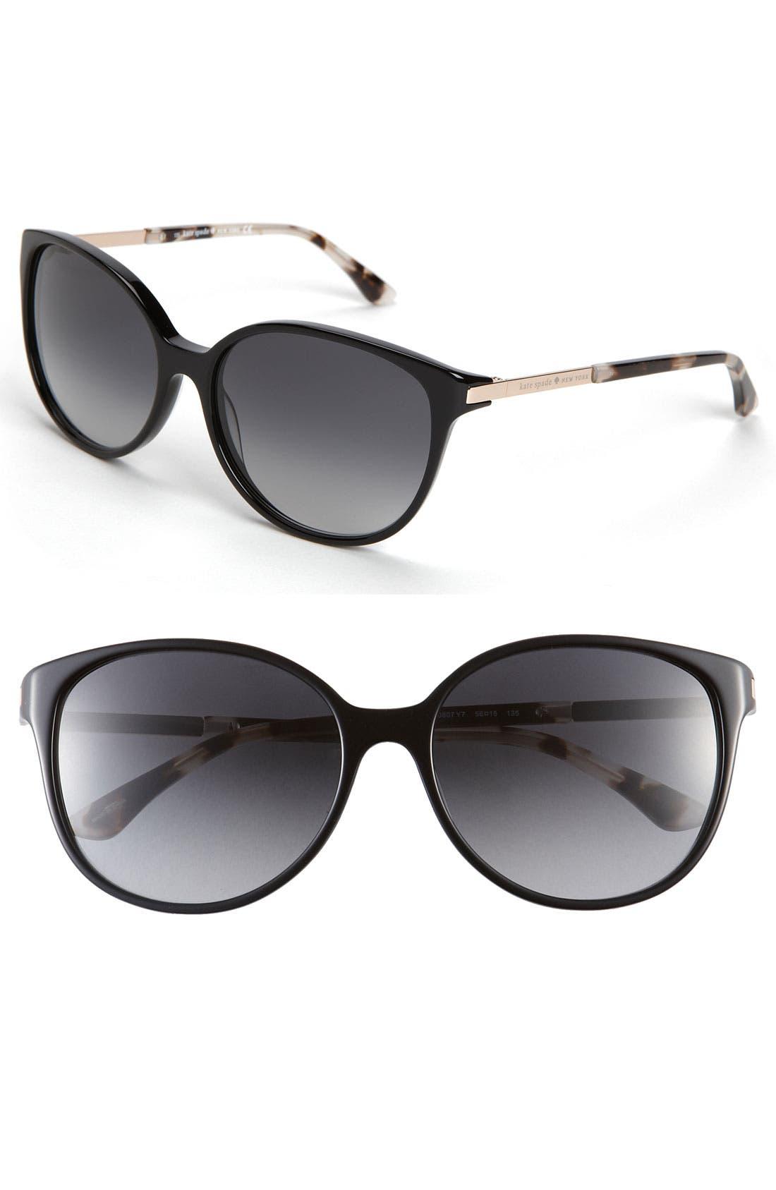 KATE SPADE NEW YORK, 'shawna' 56mm sunglasses, Main thumbnail 1, color, 001