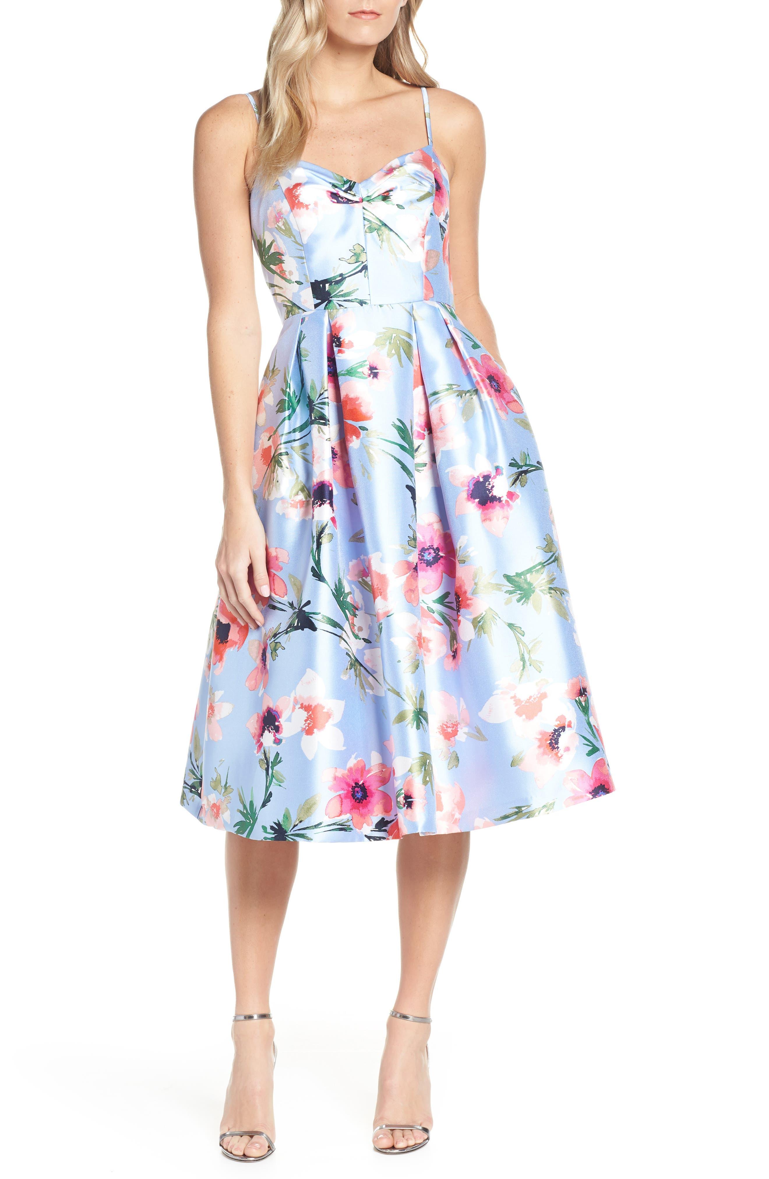 ELIZA J, Floral Print Satin Cocktail Dress, Main thumbnail 1, color, BLUE