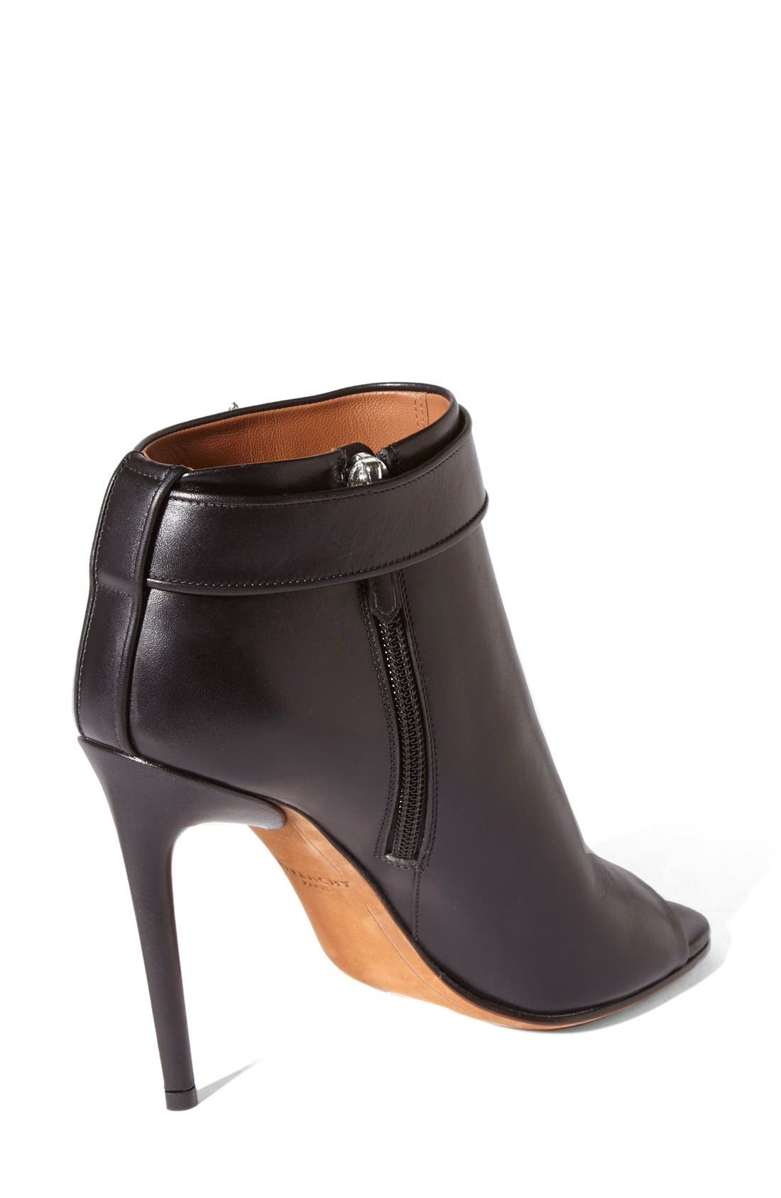 GIVENCHY, 'Ryka' Shark Tooth Open Toe Bootie, Alternate thumbnail 2, color, 001
