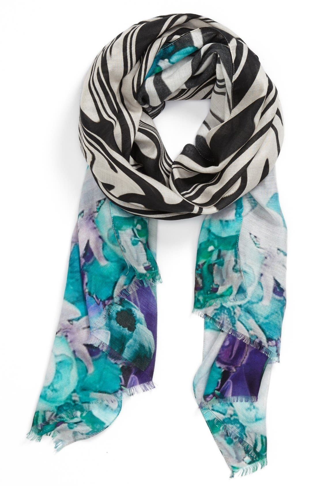 NORDSTROM 'Waved Orchid' Scarf, Main, color, 400