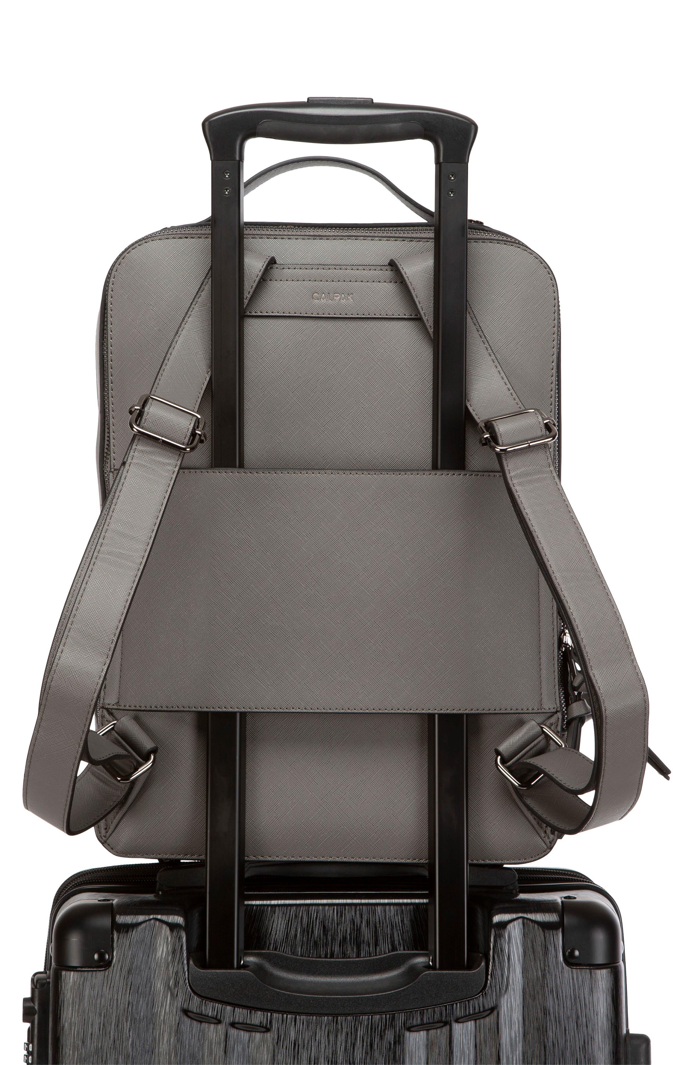 CALPAK, Kaya Faux Leather Laptop Backpack, Alternate thumbnail 5, color, CHARCOAL