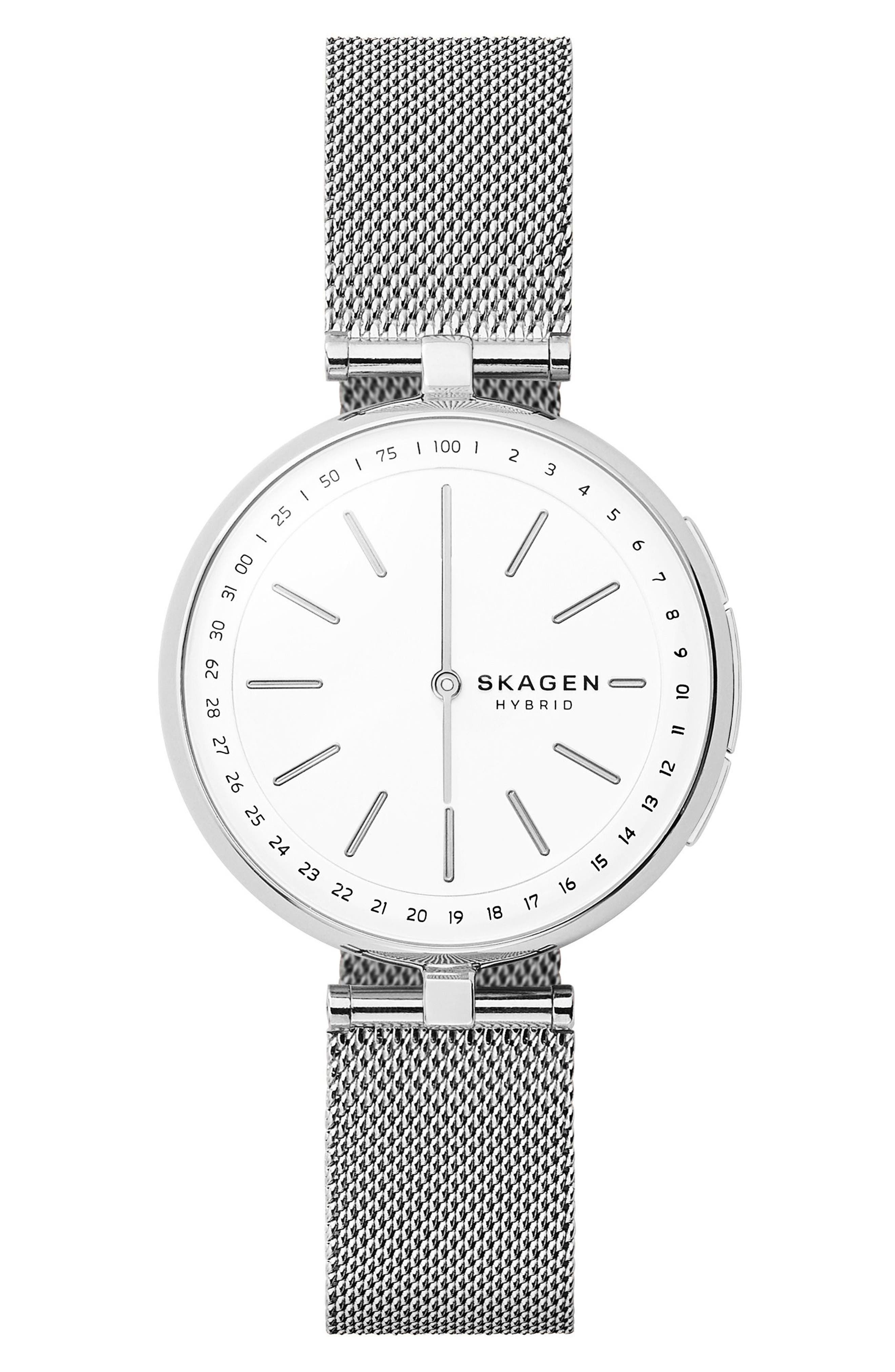 SKAGEN Signatur Connected T-Bar Mesh Strap Hybrid Smart Watch, 36mm, Main, color, SILVER/ WHITE/ SILVER