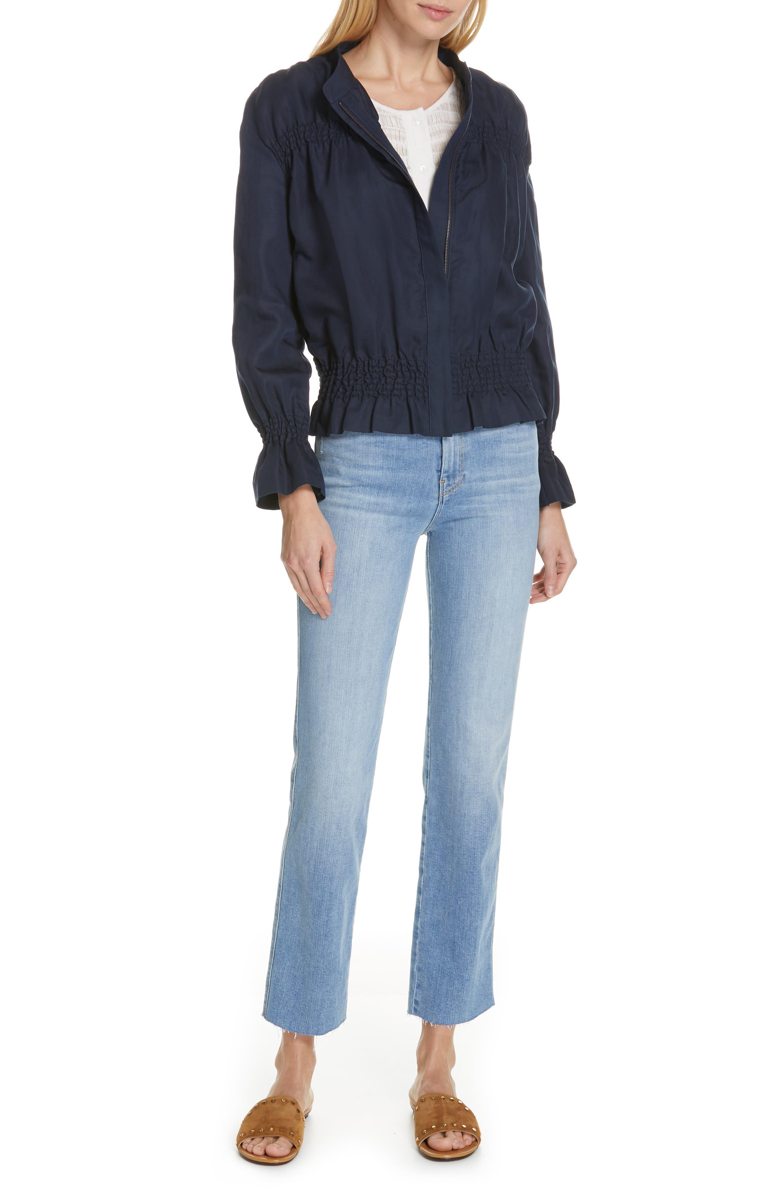 FRAME, Le Sylvie High Waist Raw Hem Straight Leg Jeans, Alternate thumbnail 8, color, OVERDRIVE