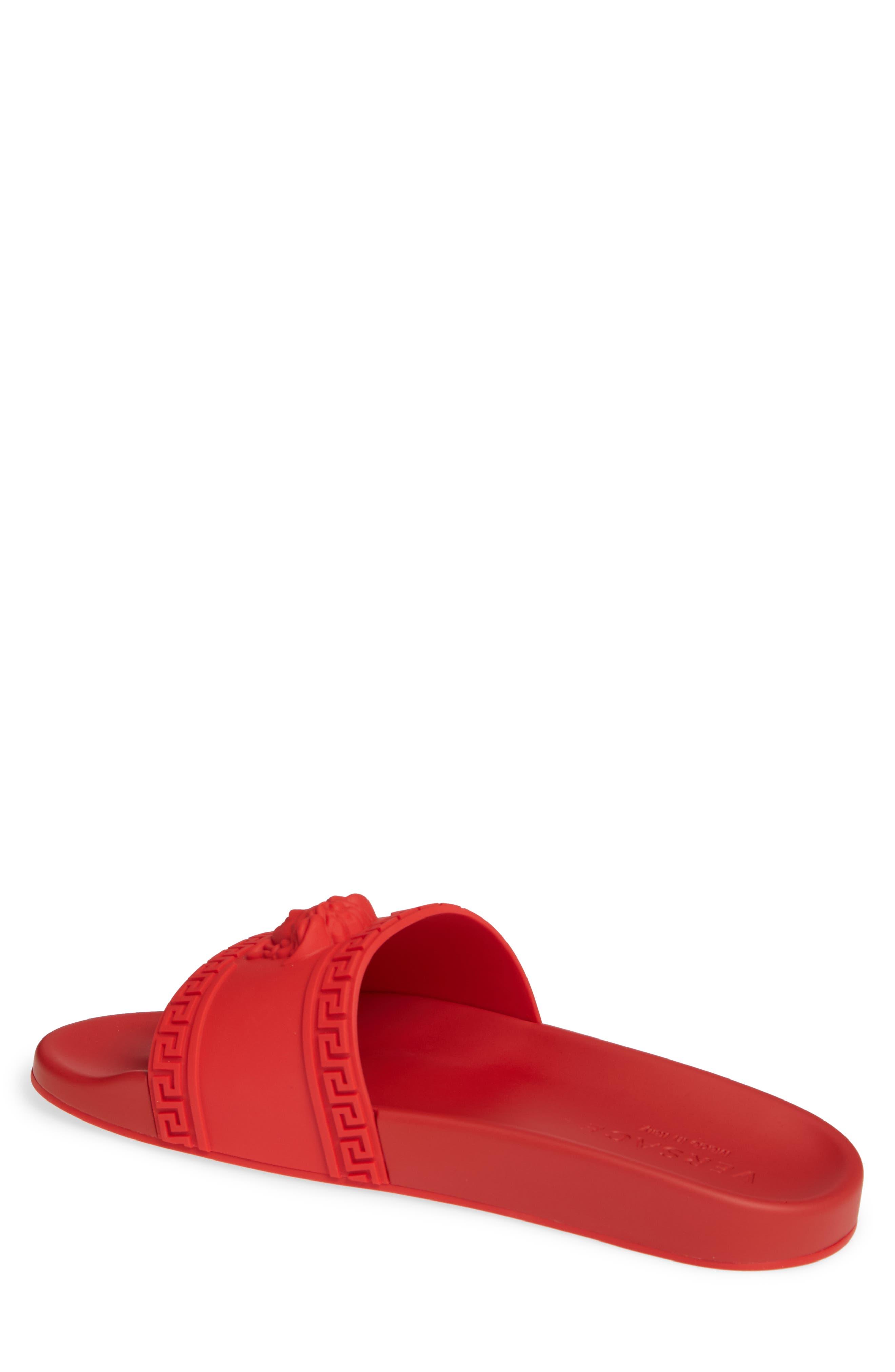 VERSACE, Palazzo Medusa Slide Sandal, Alternate thumbnail 2, color, RED