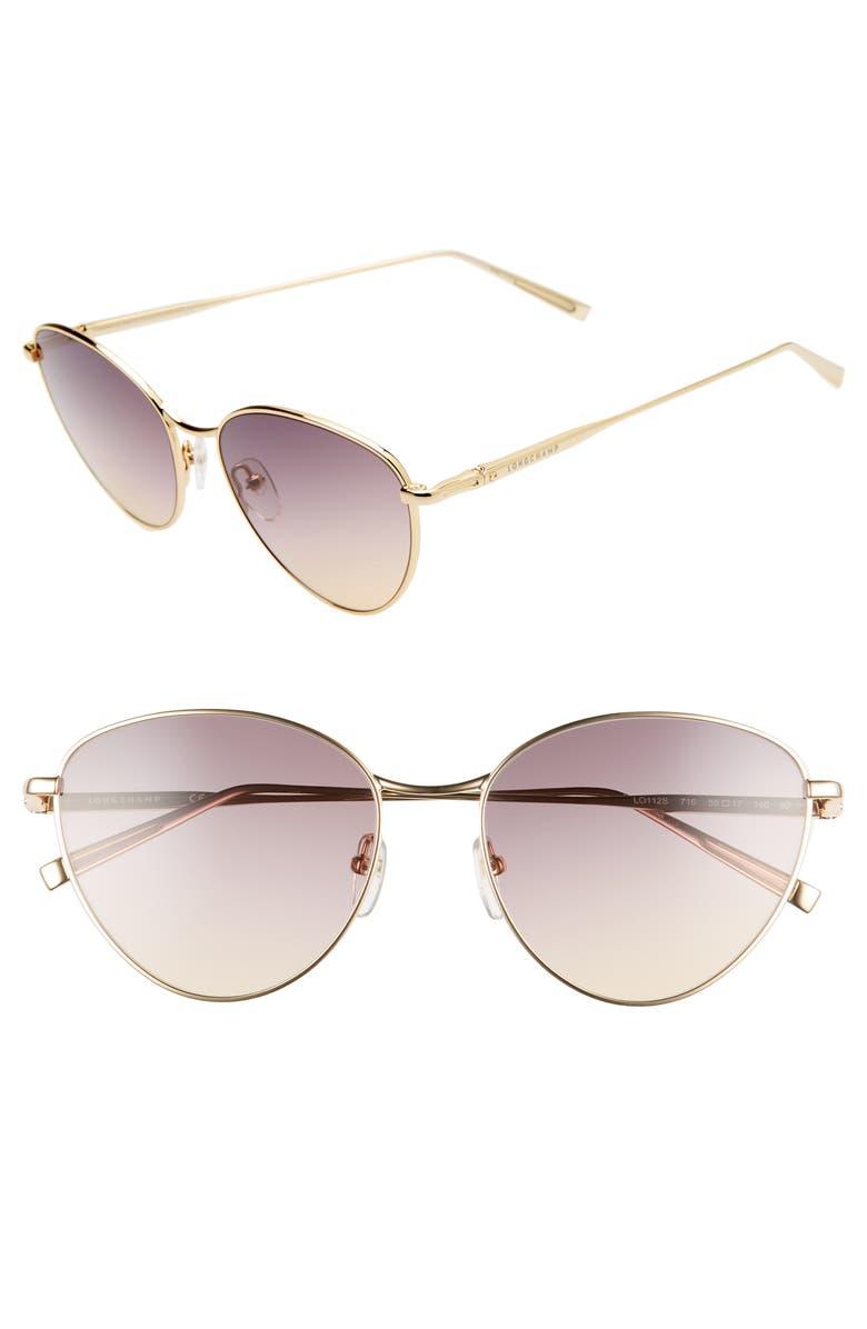 Longchamp Sunglasses 55MM ROUND SUNGLASSES - GOLD/ BROWN GRADIENT