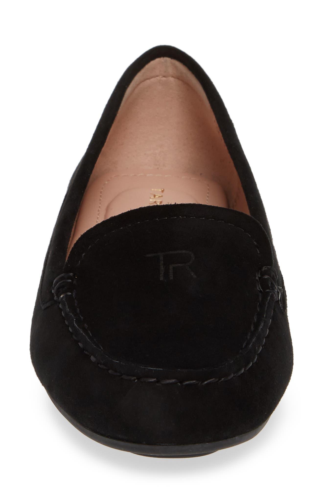TARYN ROSE, Karen Water Resistant Driving Loafer, Alternate thumbnail 4, color, BLACK SUEDE
