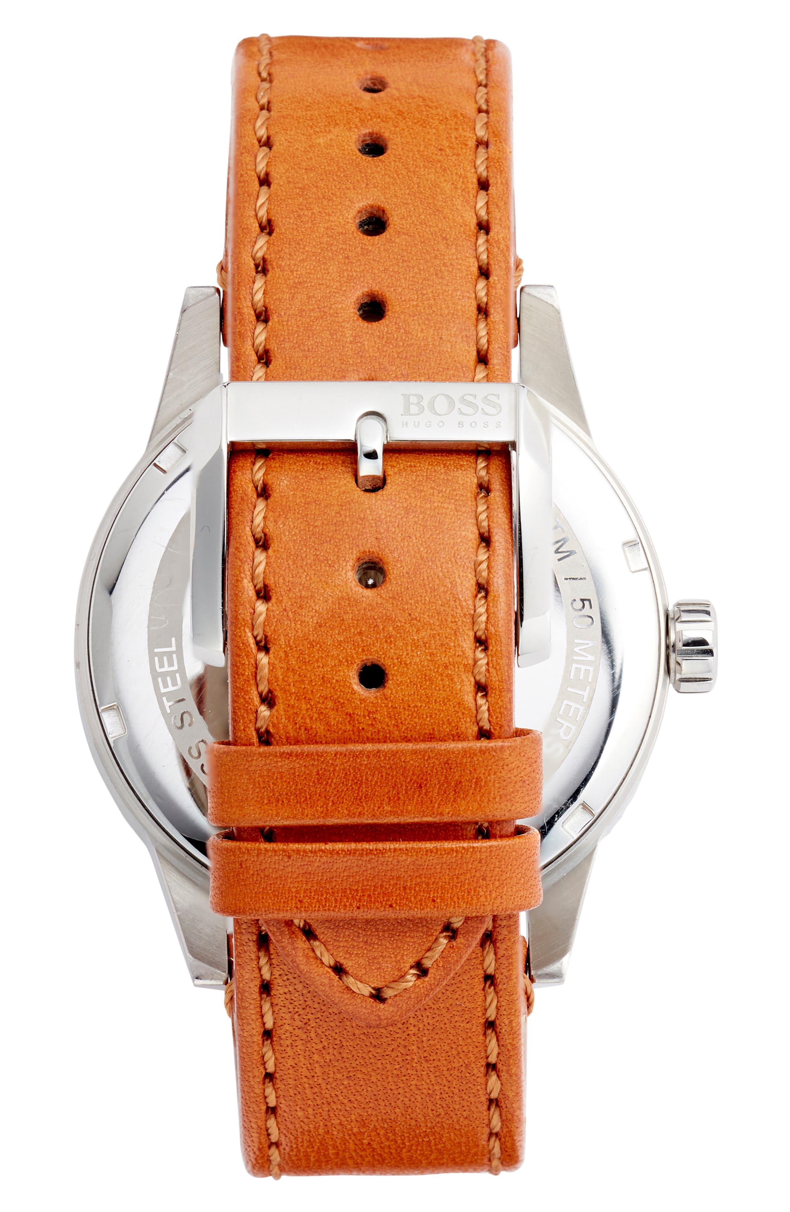 HUGO, BOSS Pilot Vintage Leather Strap Watch, Alternate thumbnail 2, color, BROWN/ BLUE/ SILVER