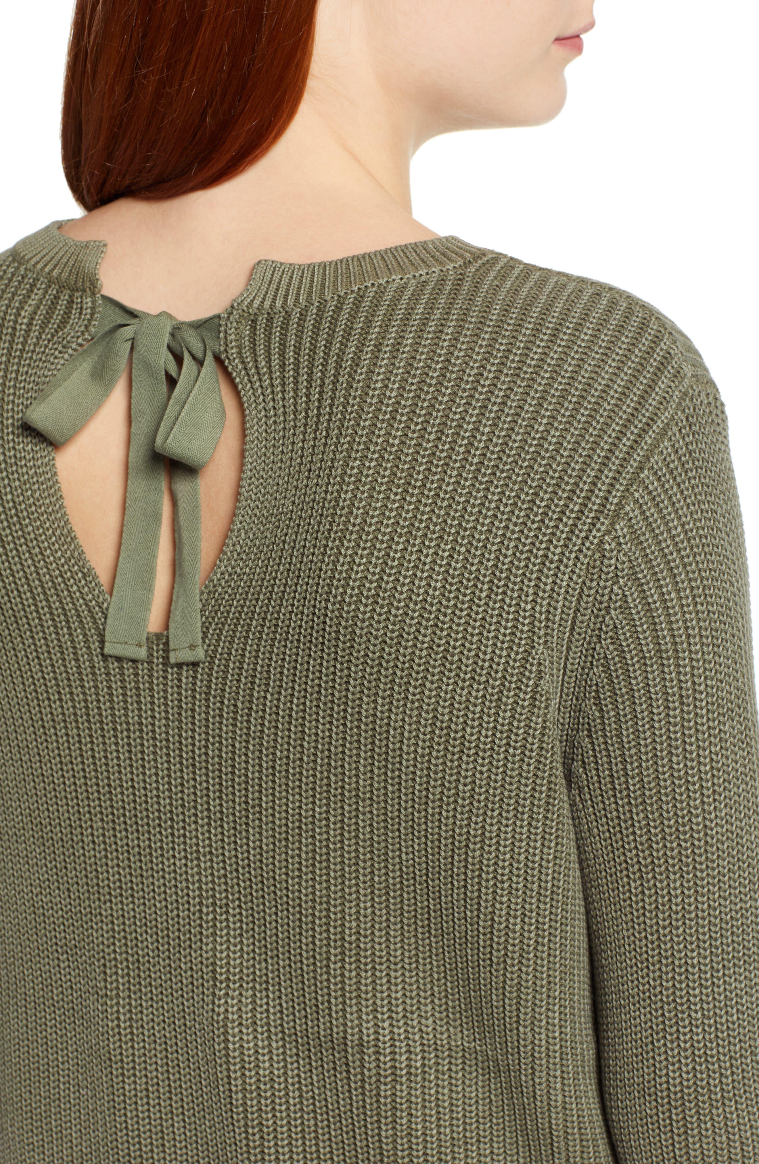 CASLON<SUP>®</SUP>, Tie Back Tunic Sweater, Alternate thumbnail 4, color, OLIVE SARMA