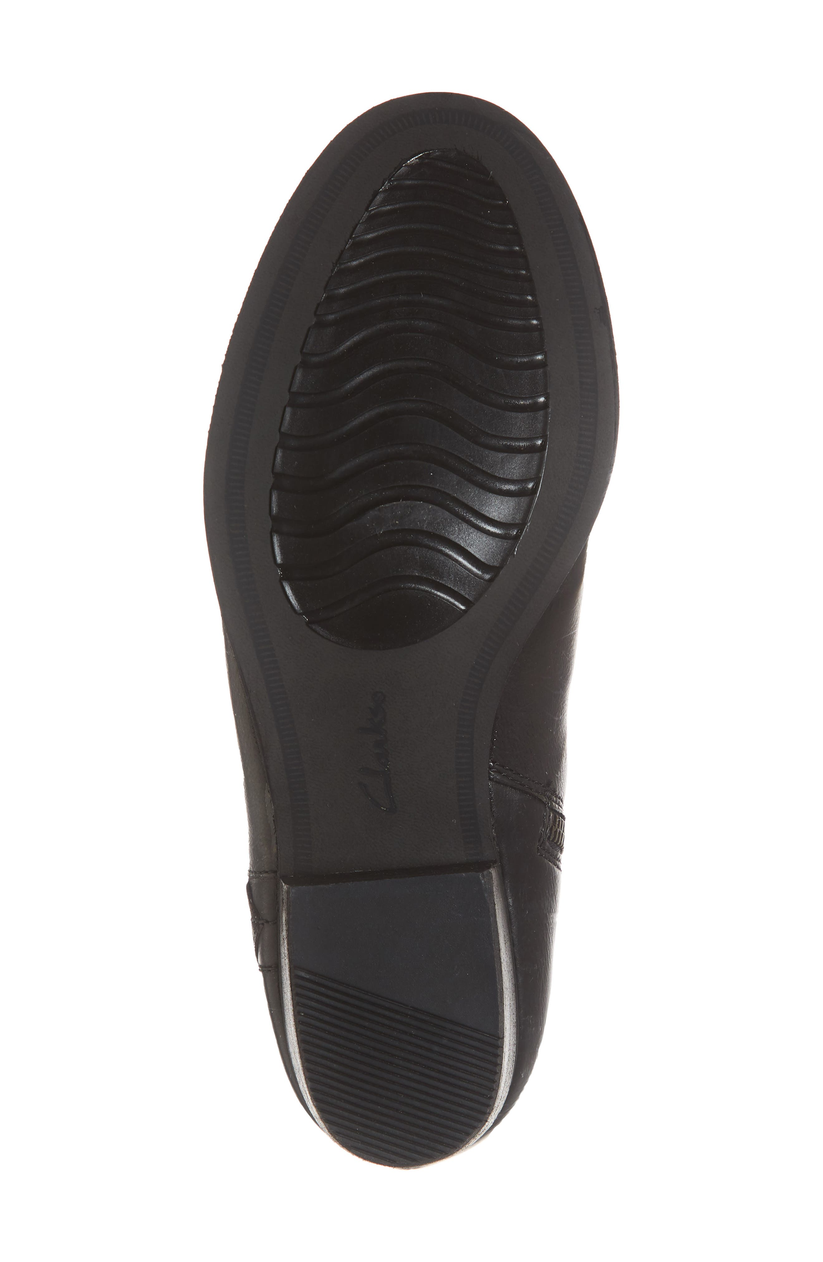 CLARKS<SUP>®</SUP>, Maypearl Fawn Bootie, Alternate thumbnail 6, color, BLACK LEATHER