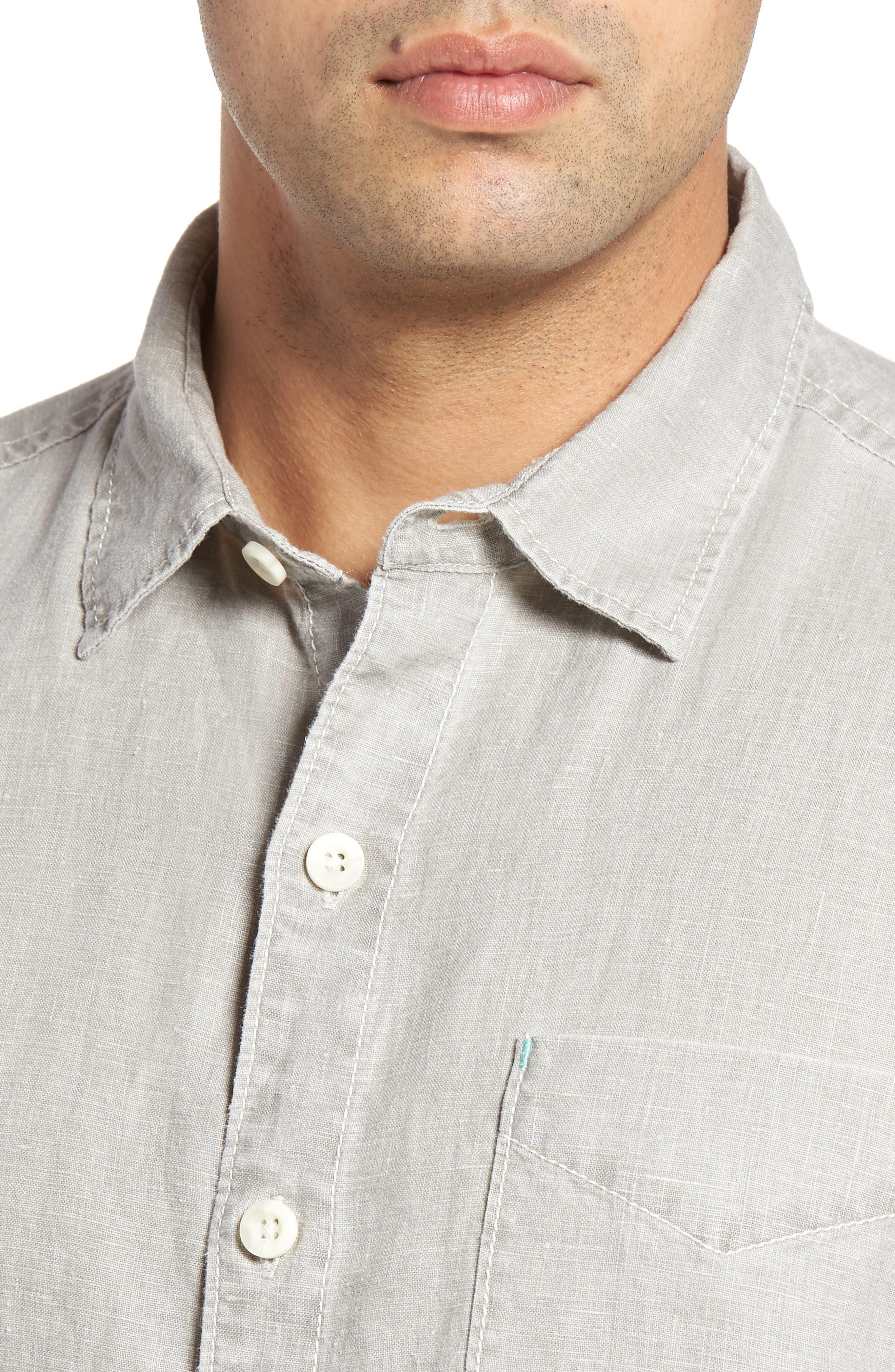 TOMMY BAHAMA, 'Sea Glass Breezer' Original Fit Linen Shirt, Alternate thumbnail 4, color, LIGHT GREY