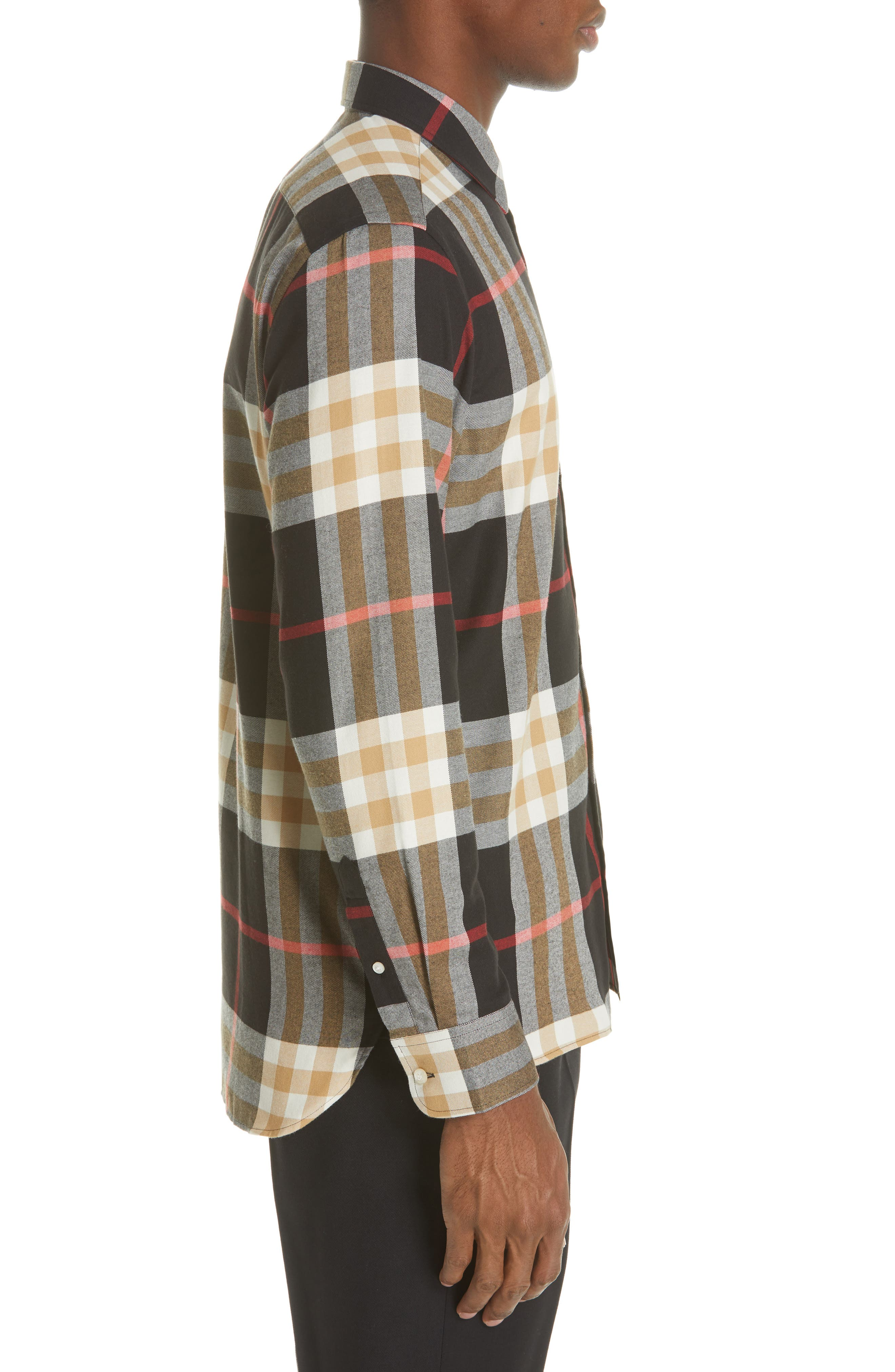 BURBERRY, Richard Slim Fit Plaid Sport Shirt, Alternate thumbnail 4, color, BLACK CHECK
