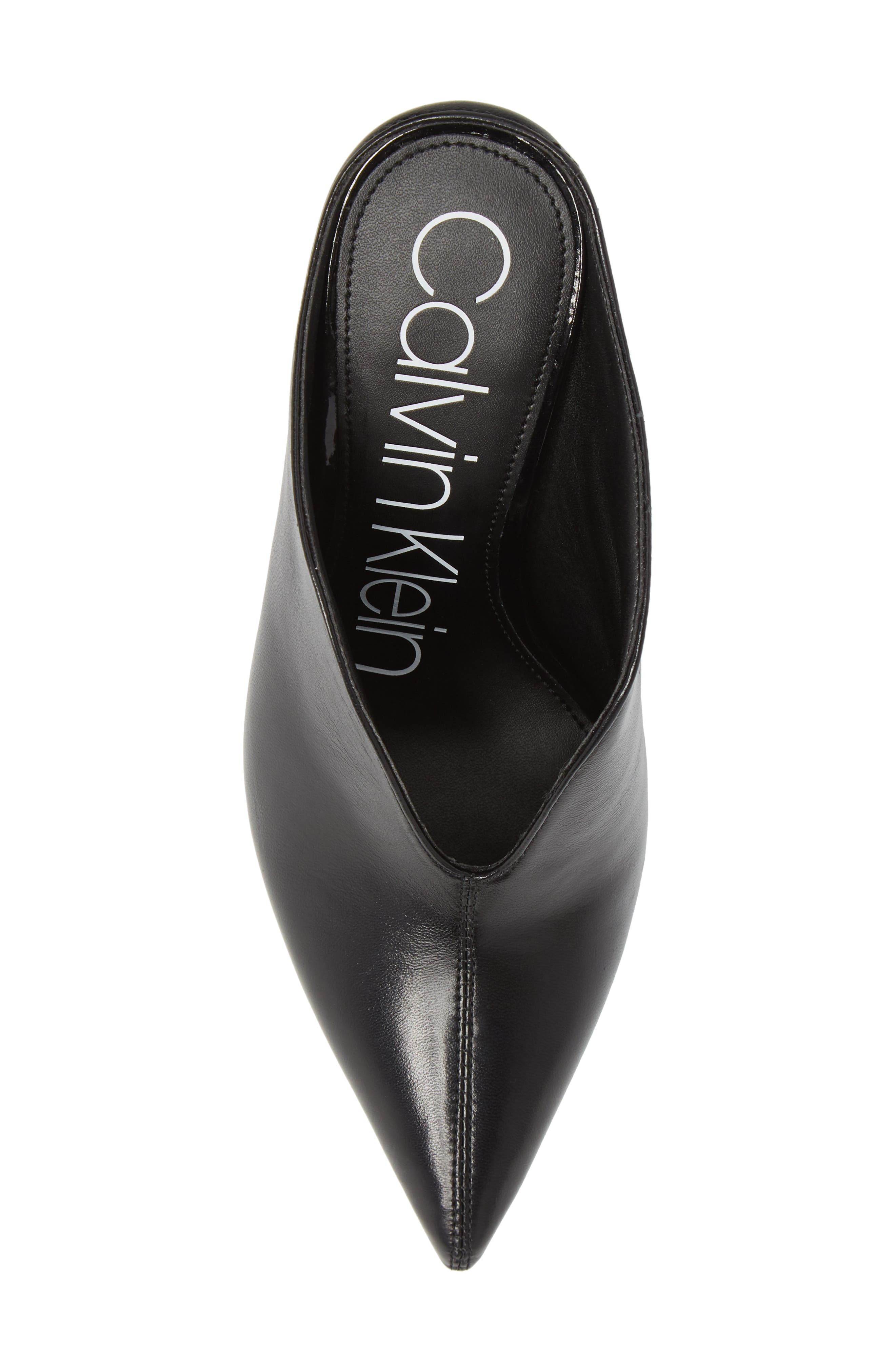 CALVIN KLEIN, Mallie Pointy Toe Mule, Alternate thumbnail 5, color, BLACK LEATHER