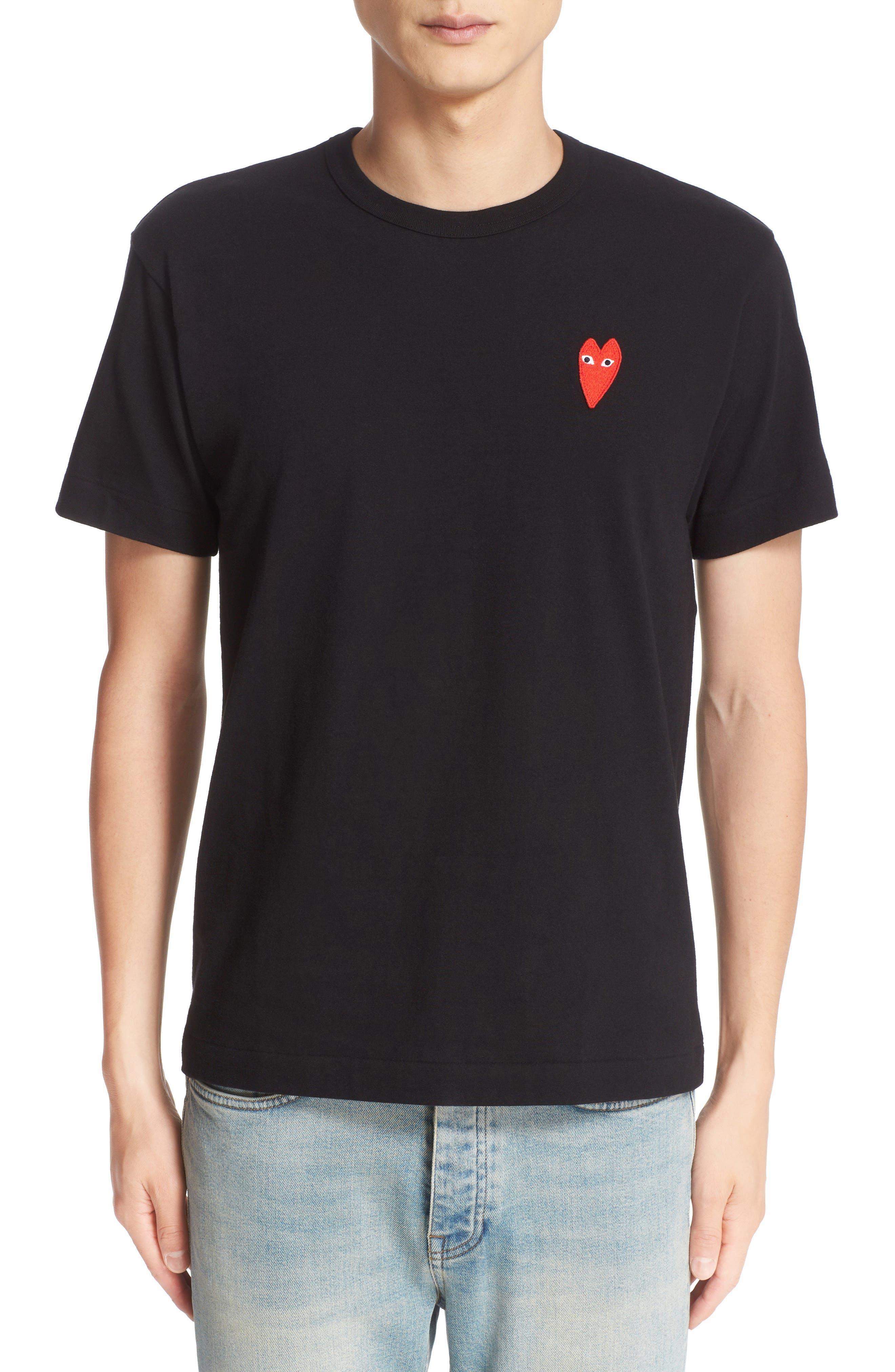 COMME DES GARÇONS PLAY, Stretch Face Heart T-Shirt, Main thumbnail 1, color, BLACK