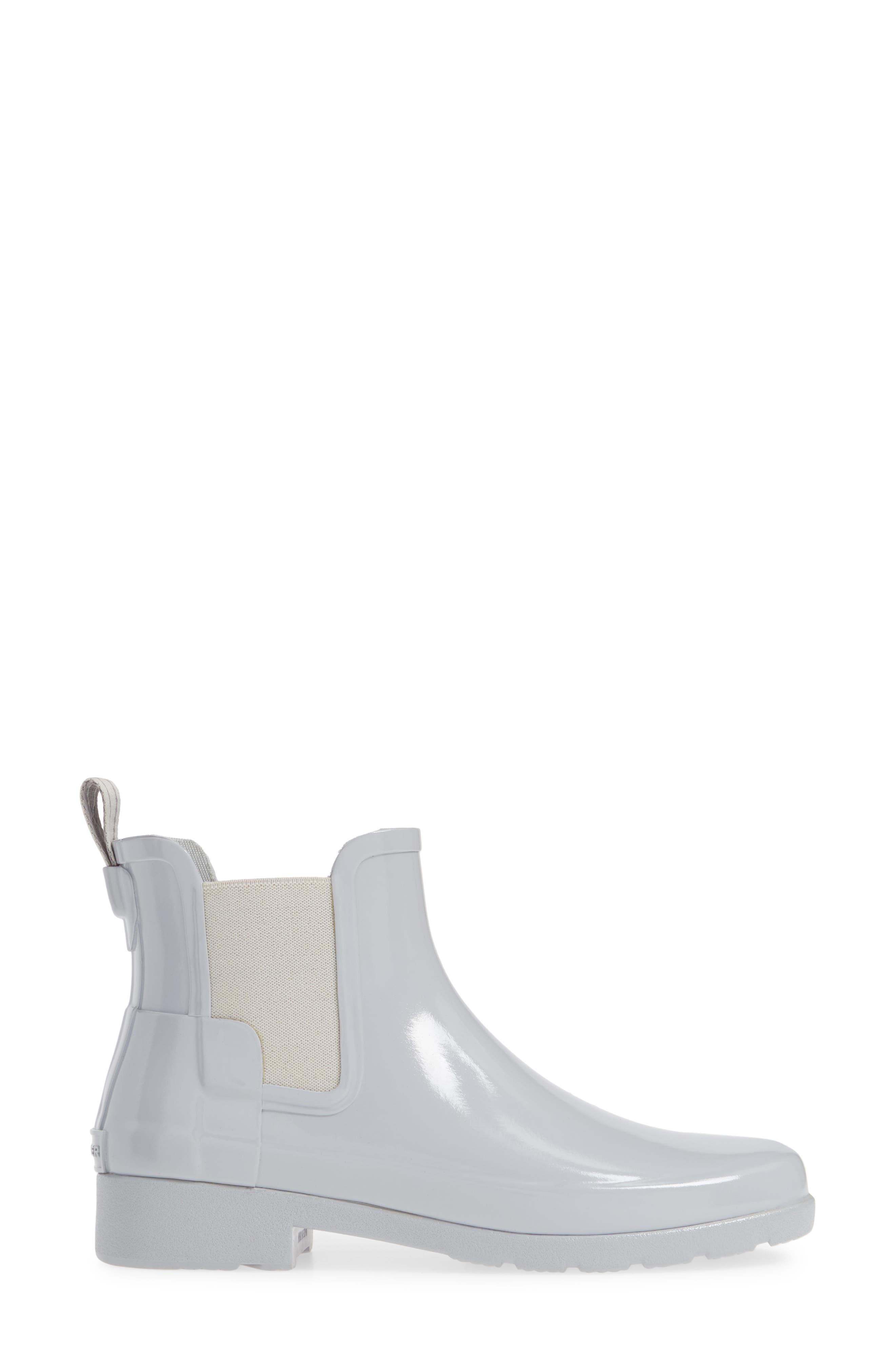 HUNTER, Original Refined Chelsea Waterproof Rain Boot, Alternate thumbnail 3, color, 074