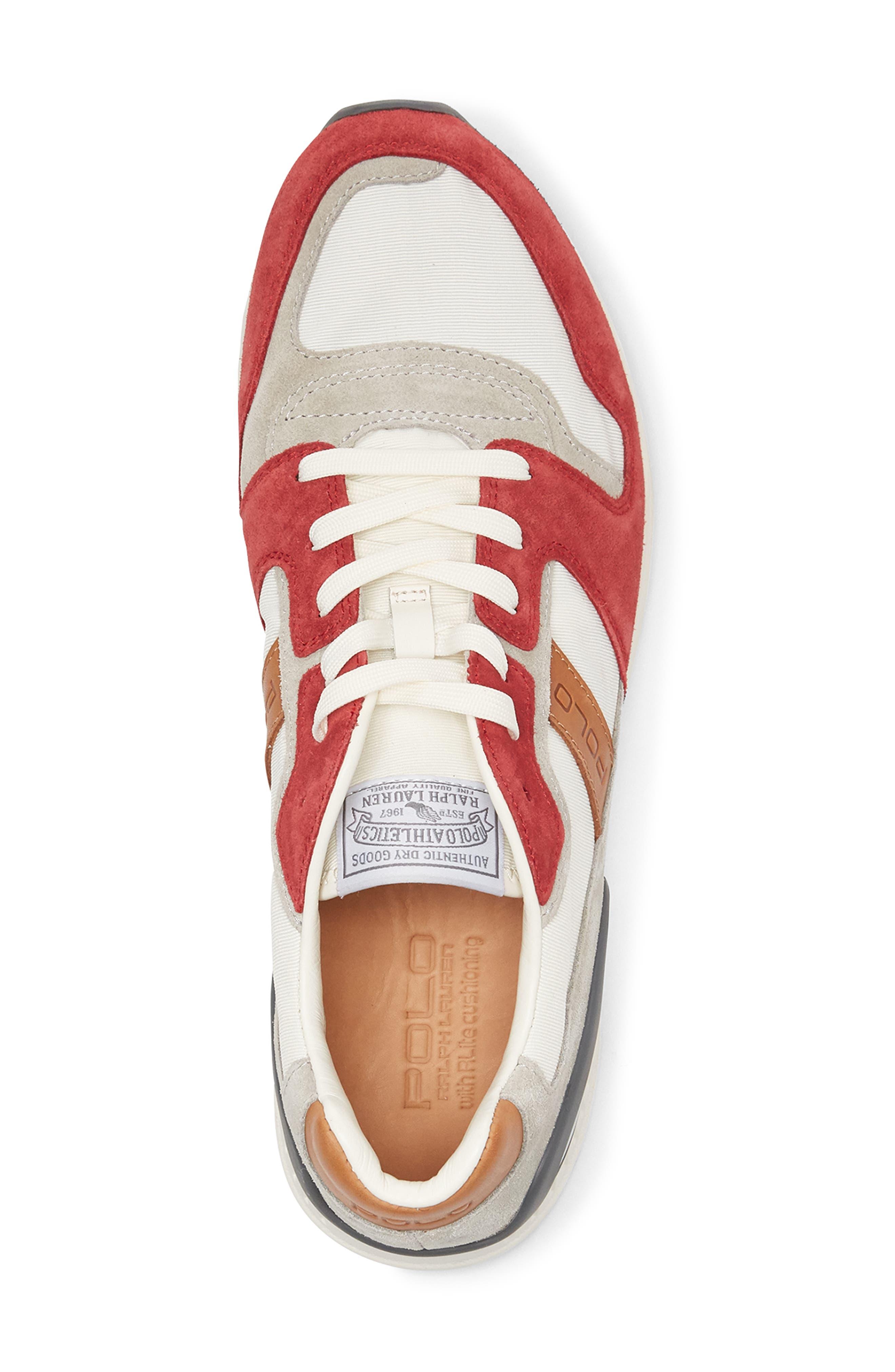 POLO RALPH LAUREN, Train 100 Retro Sneaker, Alternate thumbnail 3, color, RED NYLON/ SUEDE