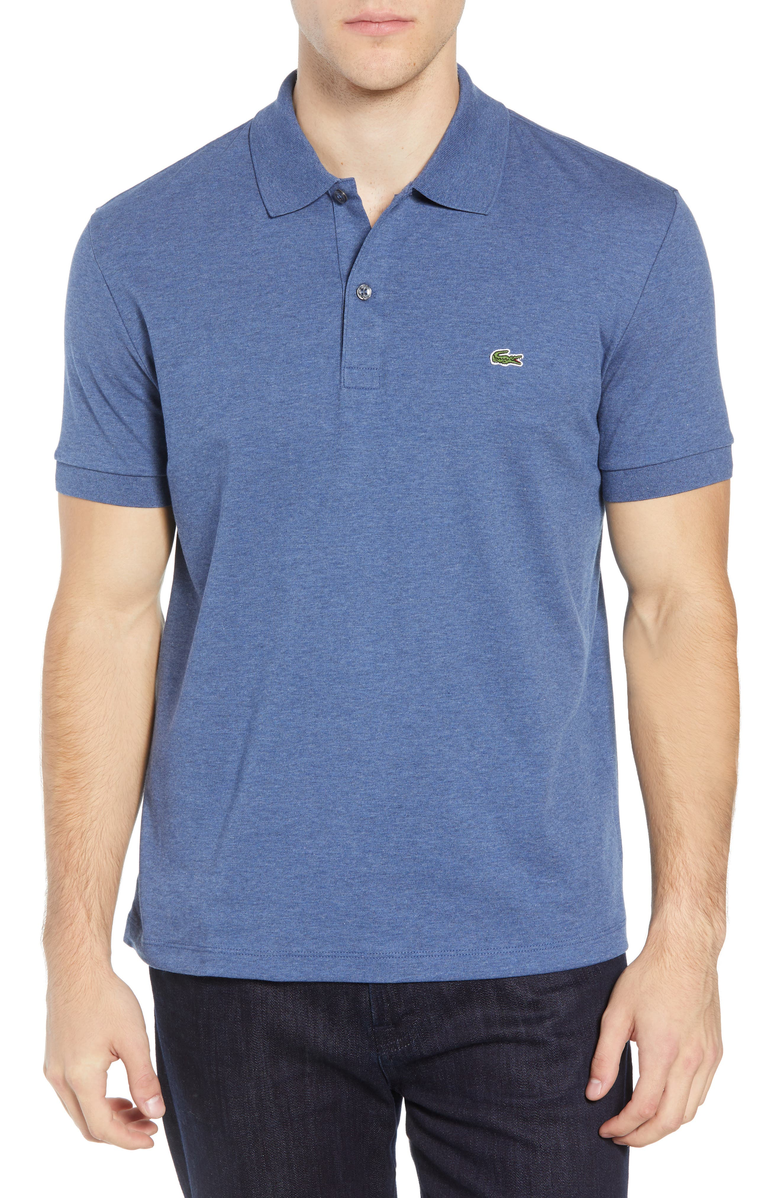 LACOSTE, Jersey Interlock Regular Fit Polo, Main thumbnail 1, color, CRUISE CHINE
