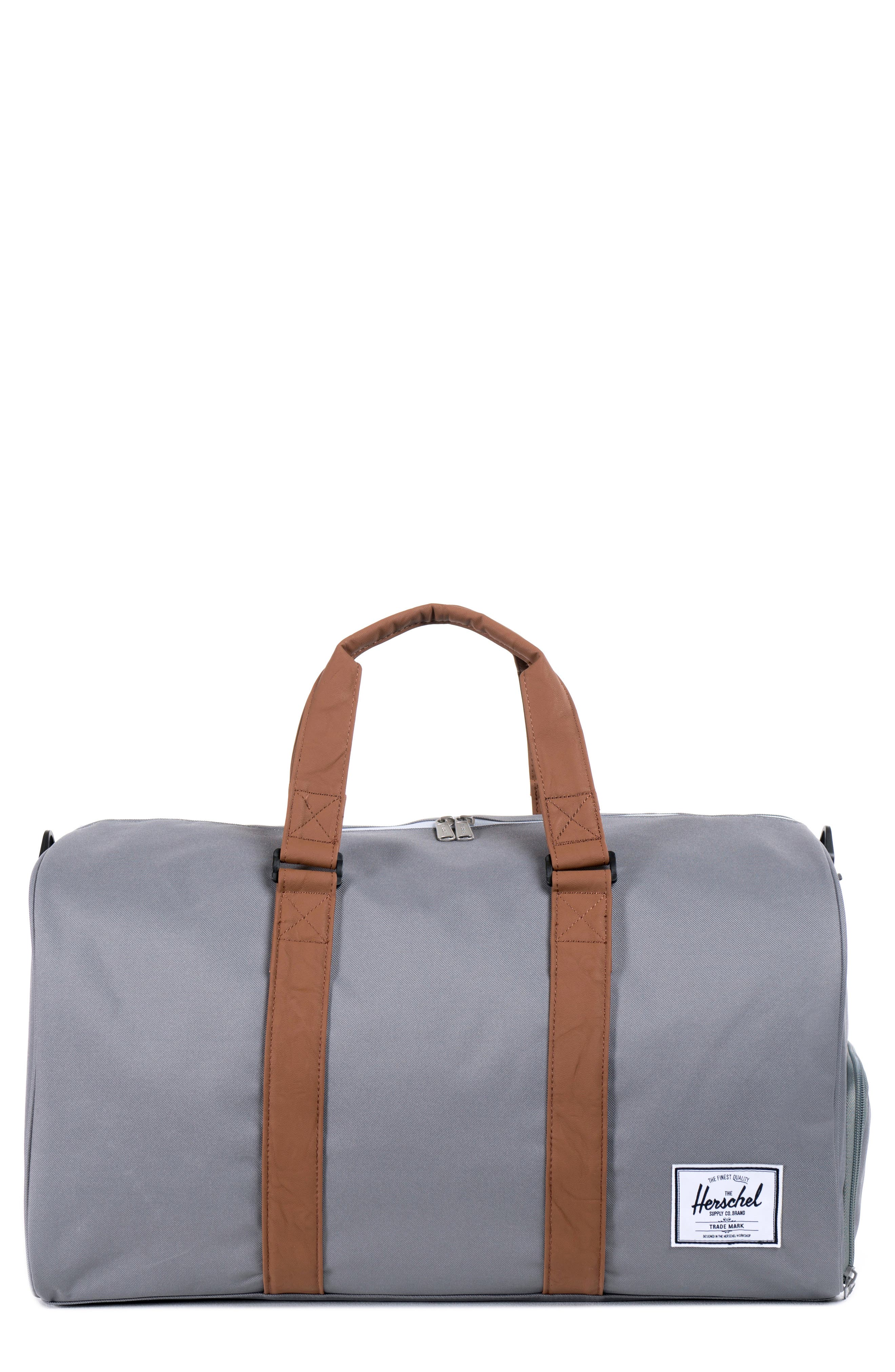 HERSCHEL SUPPLY CO., Novel Canvas Duffle Bag, Main thumbnail 1, color, GREY/ TAN