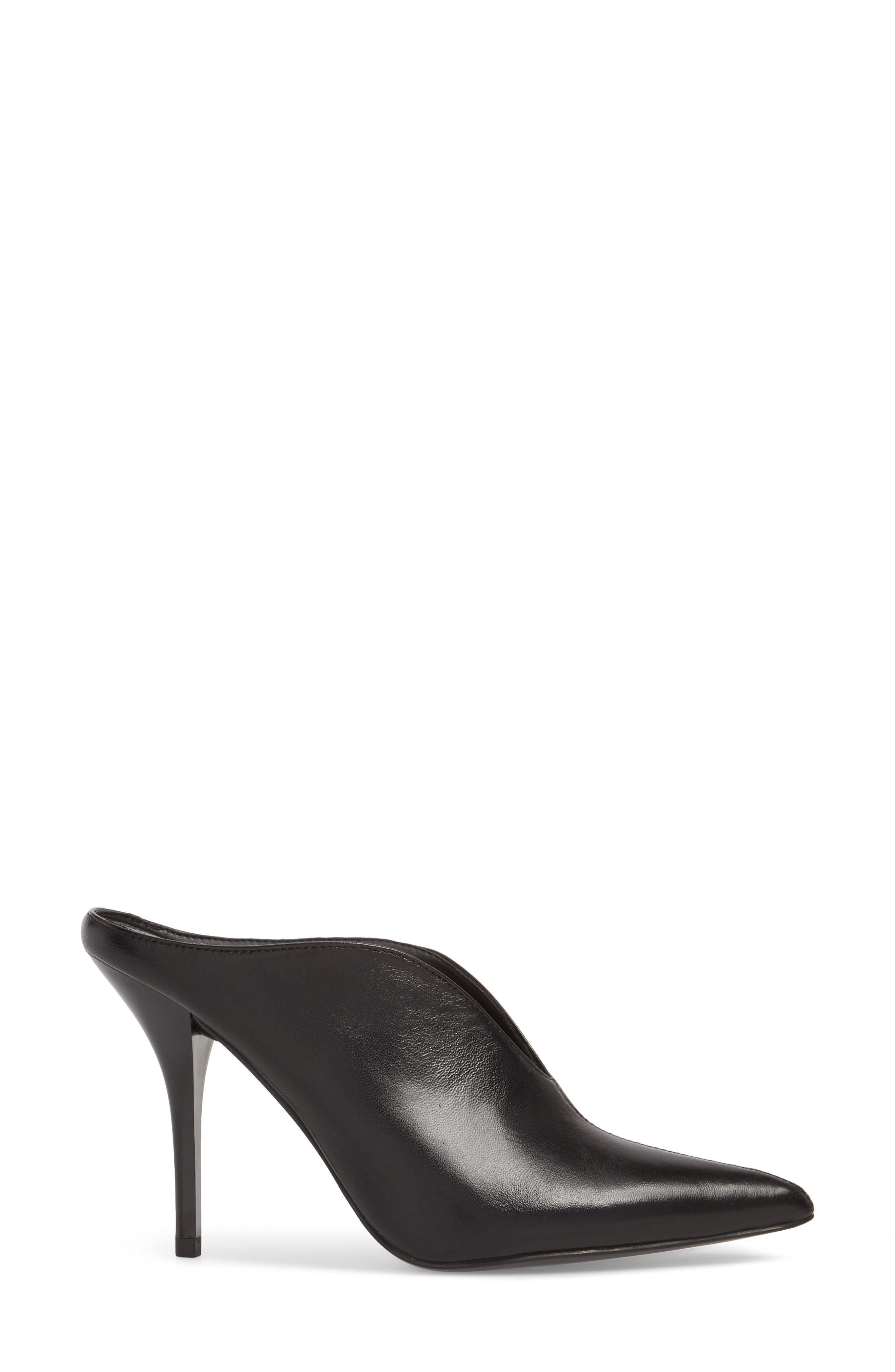 CALVIN KLEIN, Mallie Pointy Toe Mule, Alternate thumbnail 3, color, BLACK LEATHER