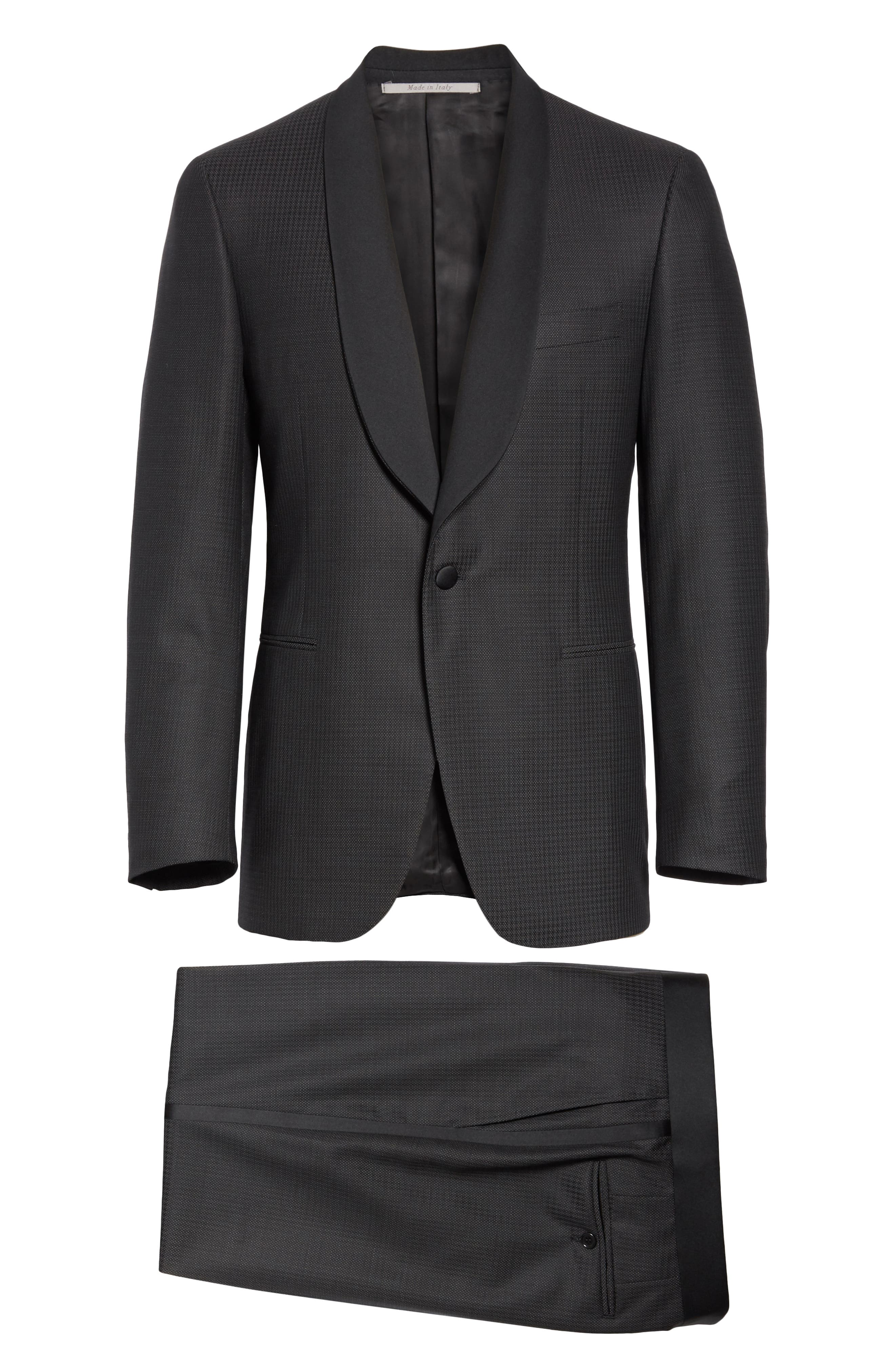 CANALI, Classic Fit Wool Tuxedo, Alternate thumbnail 8, color, CHARCOAL
