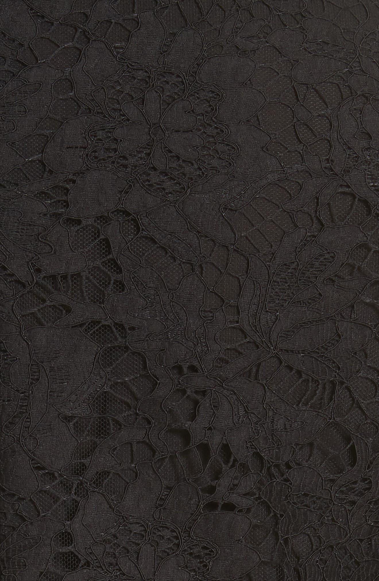 VALENTINO, Ruffle Hem Lace Dress, Alternate thumbnail 6, color, BLACK