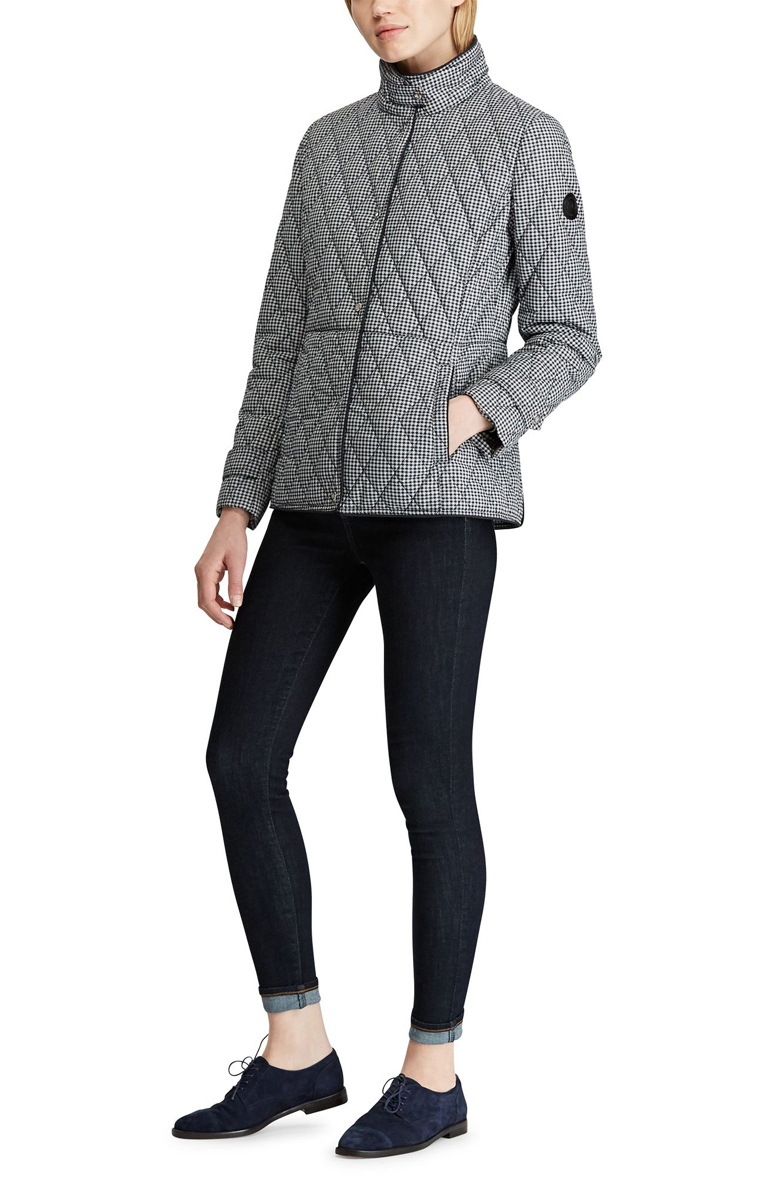 LAUREN RALPH LAUREN, Houndstooth Quilted Military Jacket, Alternate thumbnail 5, color, DK NAVY HOUNDSTOOTH