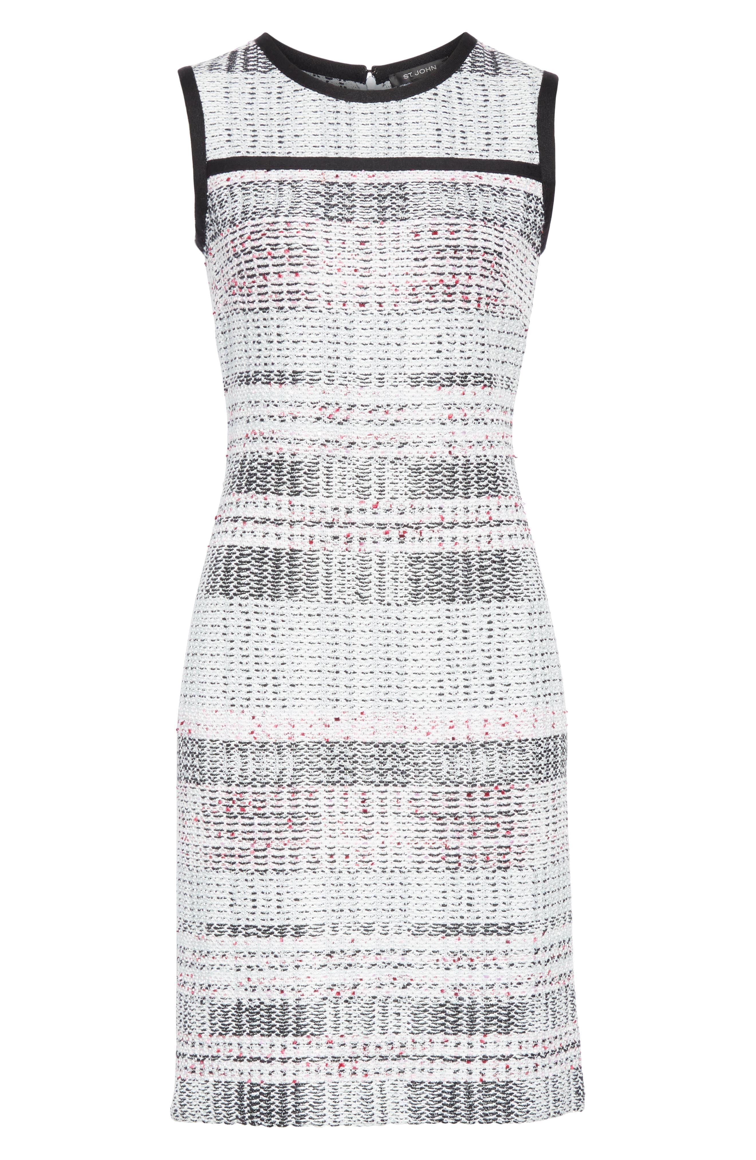 ST. JOHN COLLECTION, Bianca Plaid Knit Sheath Dress, Alternate thumbnail 7, color, GREY MULTI