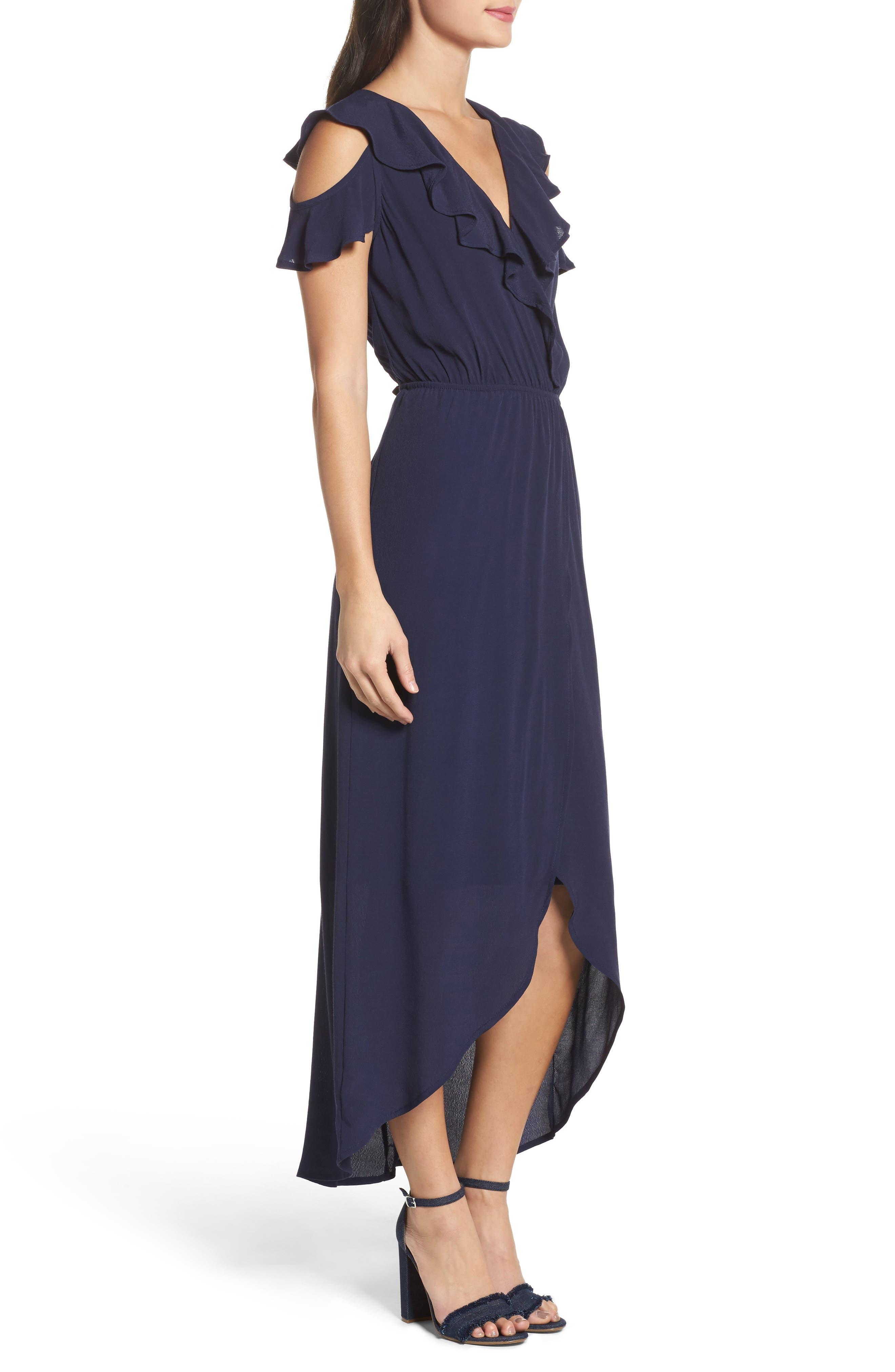 FRAICHE BY J, Cold Shoulder Maxi Dress, Alternate thumbnail 3, color, NAVY