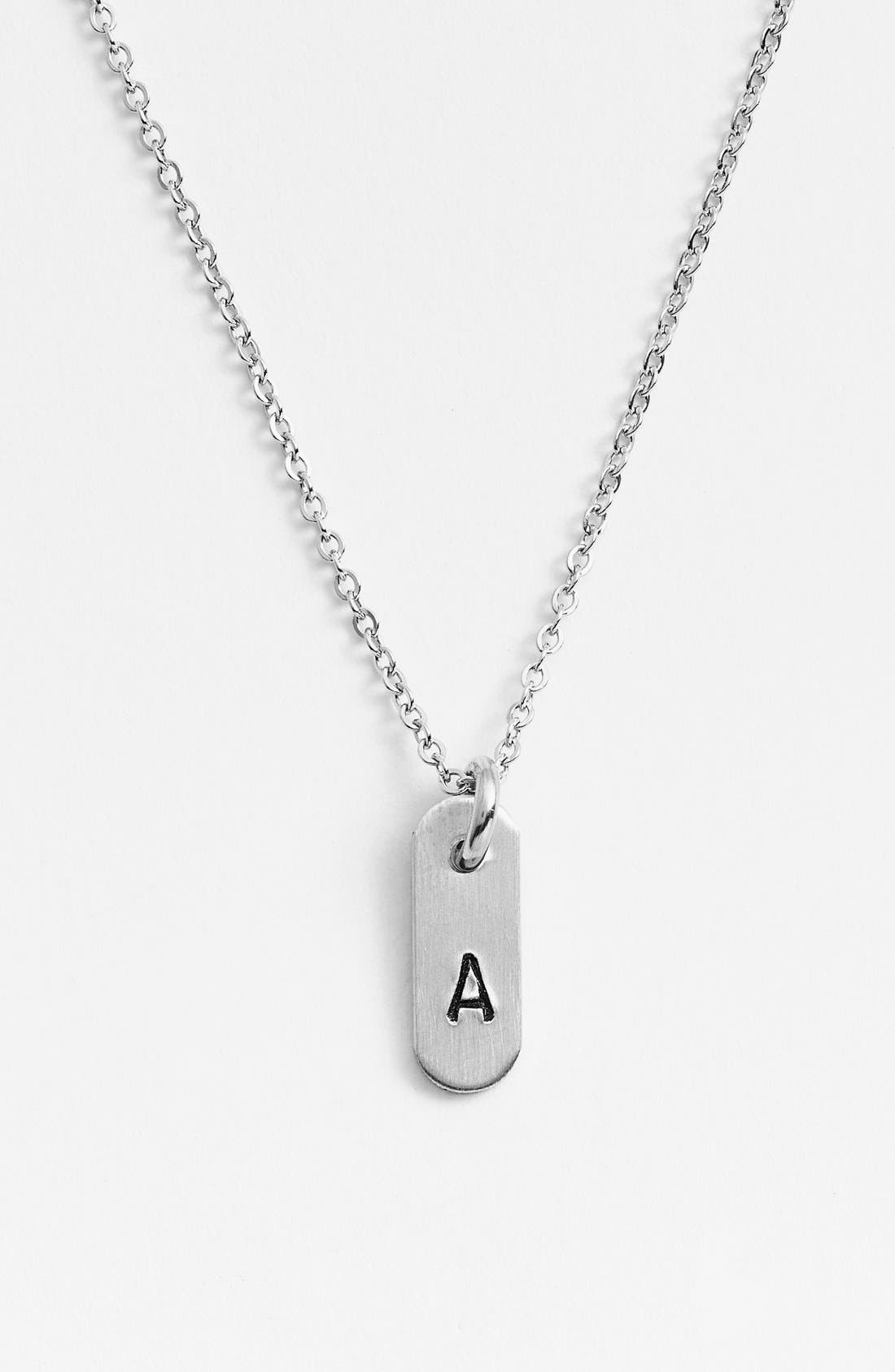 NASHELLE, Sterling Silver Initial Mini Bar Necklace, Main thumbnail 1, color, STERLING SILVER A