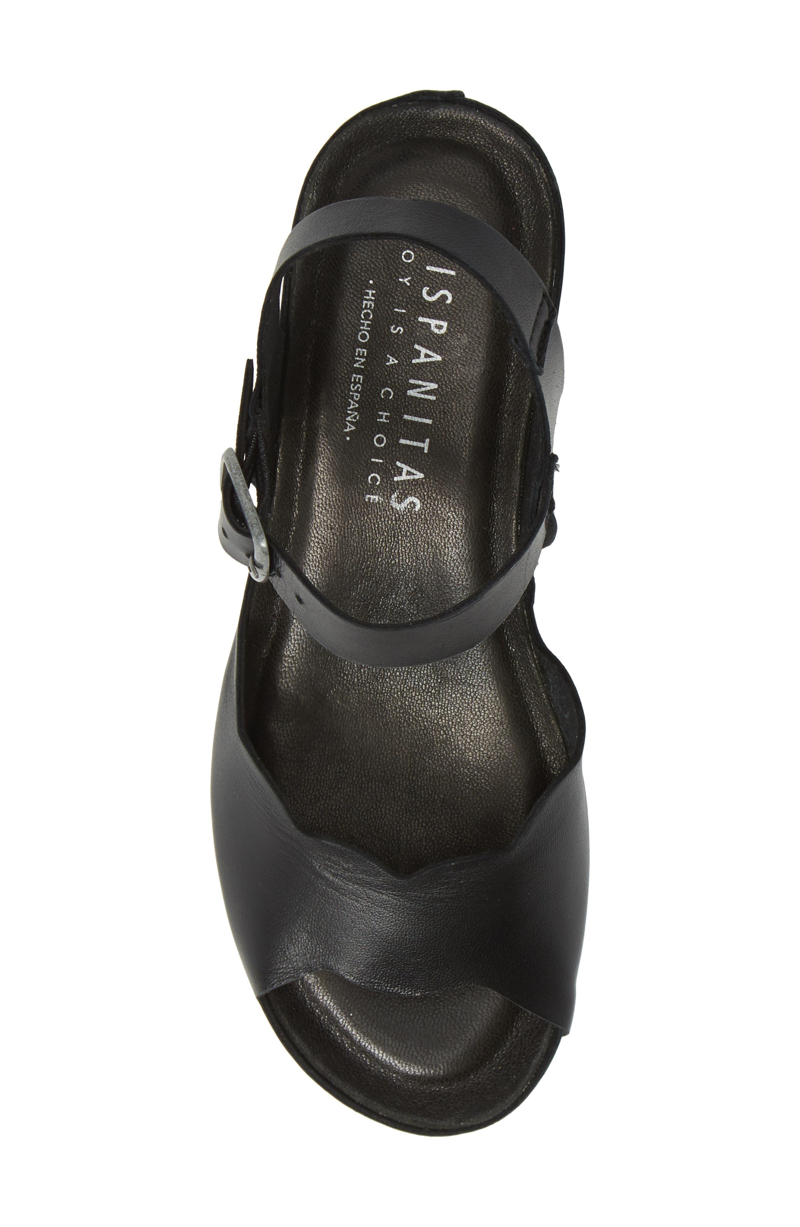 HISPANITAS, Vanetta Wedge Sandal, Alternate thumbnail 5, color, NAPA LAM BLACK LEATHER