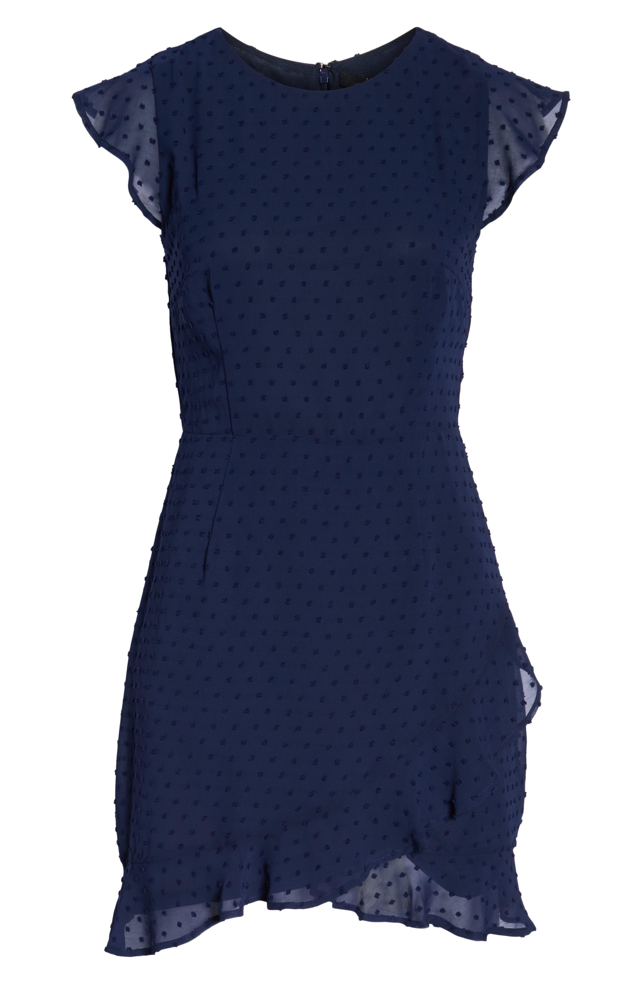 19 COOPER, Swiss Dot Ruffle Dress, Alternate thumbnail 7, color, 410