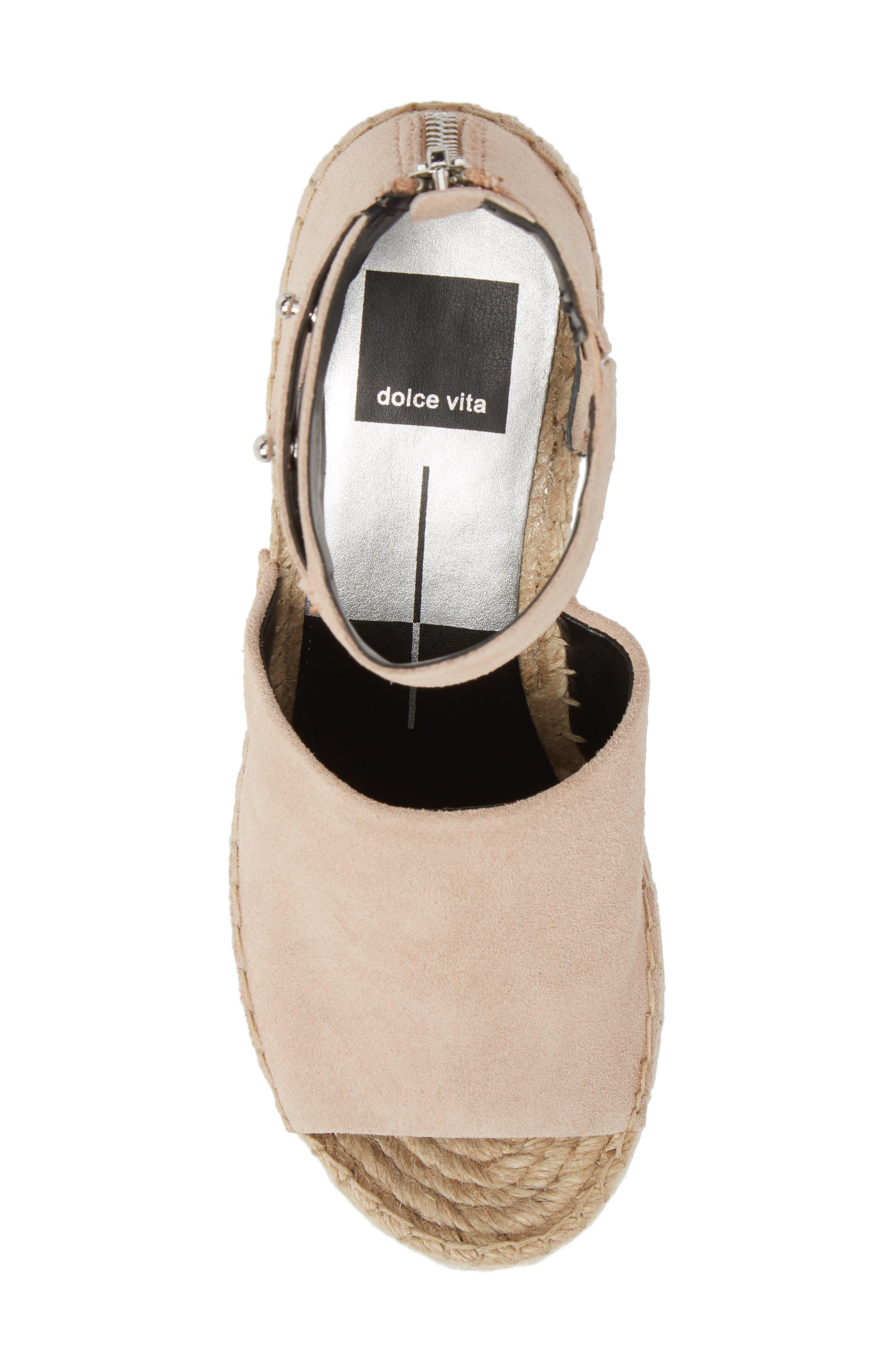 DOLCE VITA, Straw Wedge Espadrille Sandal, Alternate thumbnail 5, color, BLUSH