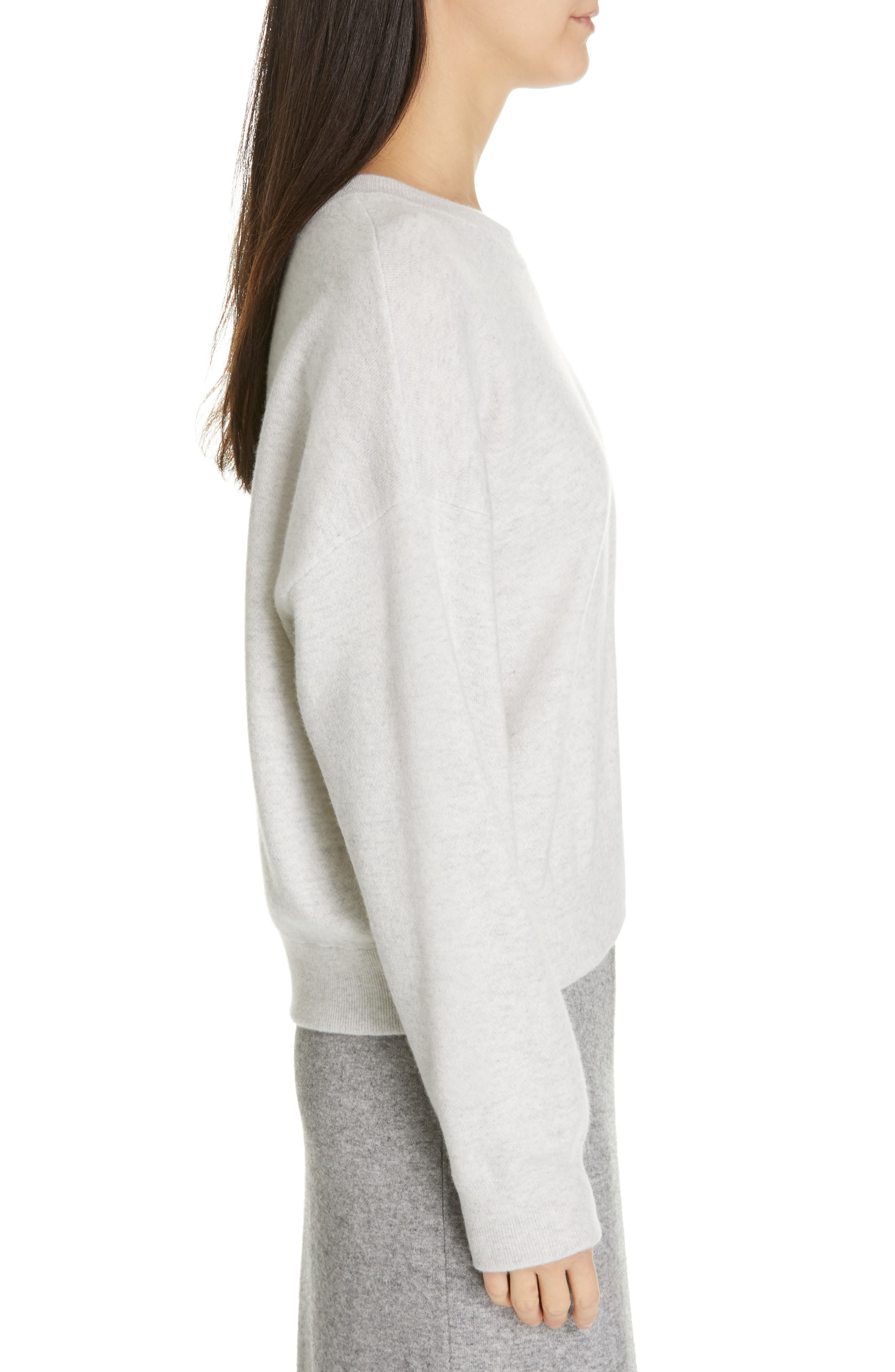 VINCE, Double Layer Sweater, Alternate thumbnail 3, color, H CLOUD/ OPTIC WHITE