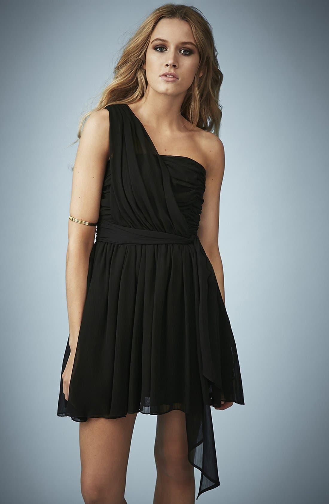 TOPSHOP, Kate Moss for Topshop One-Shoulder Chiffon Dress, Main thumbnail 1, color, 001