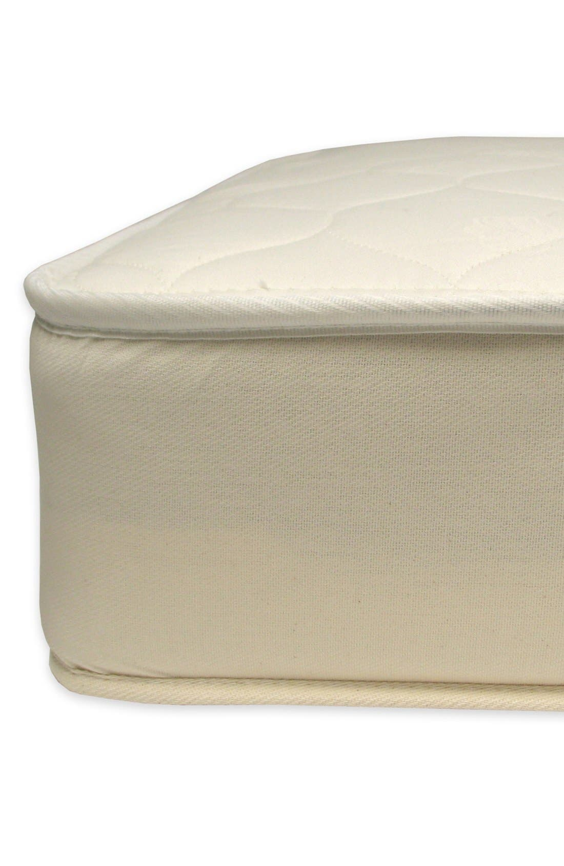NATUREPEDIC, '252' Organic Cotton 2-in-1 Ultra/Quilted Crib Mattress, Alternate thumbnail 3, color, NATURAL