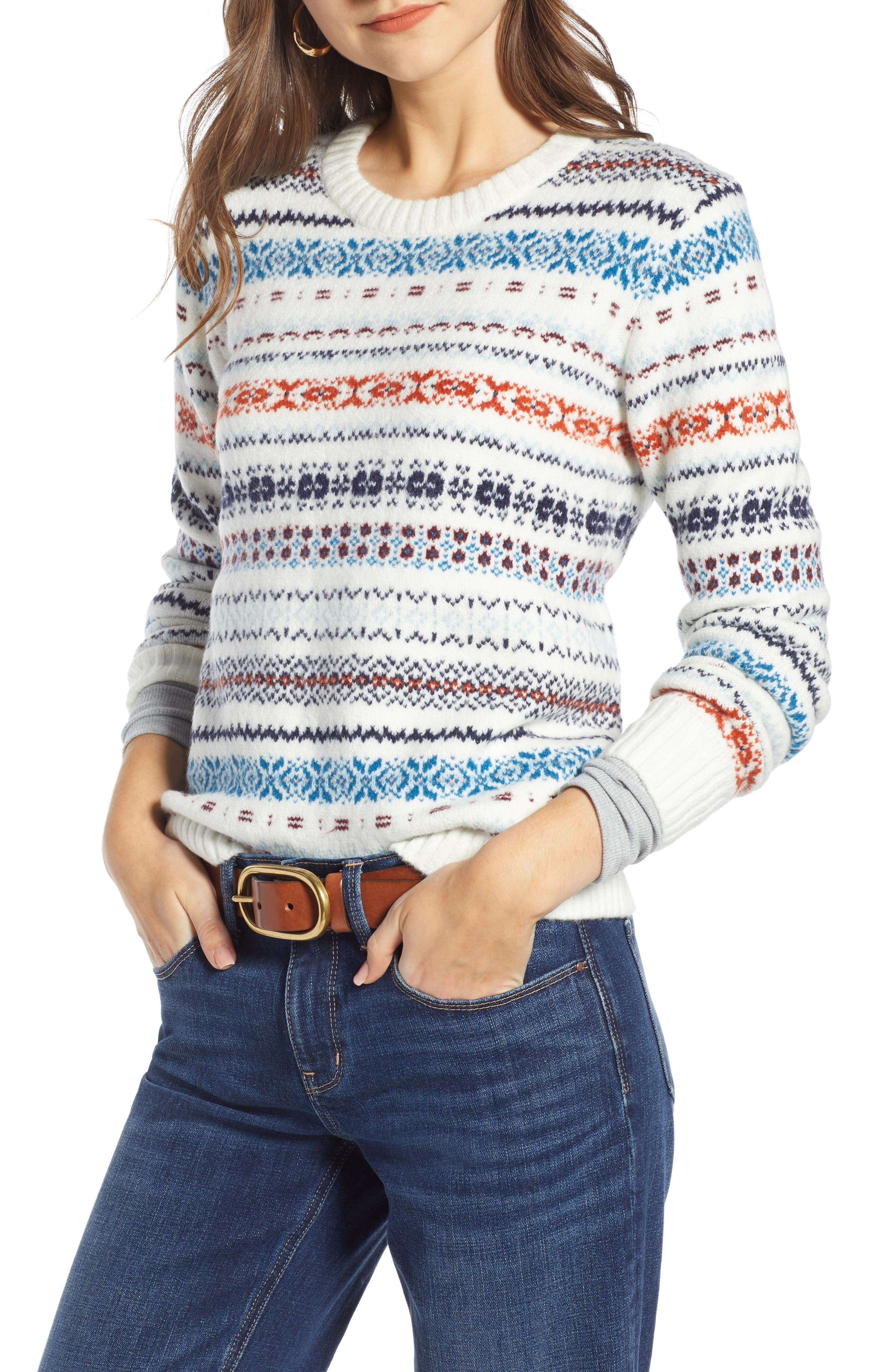TREASURE & BOND Fair Isle Sweater, Main, color, 900