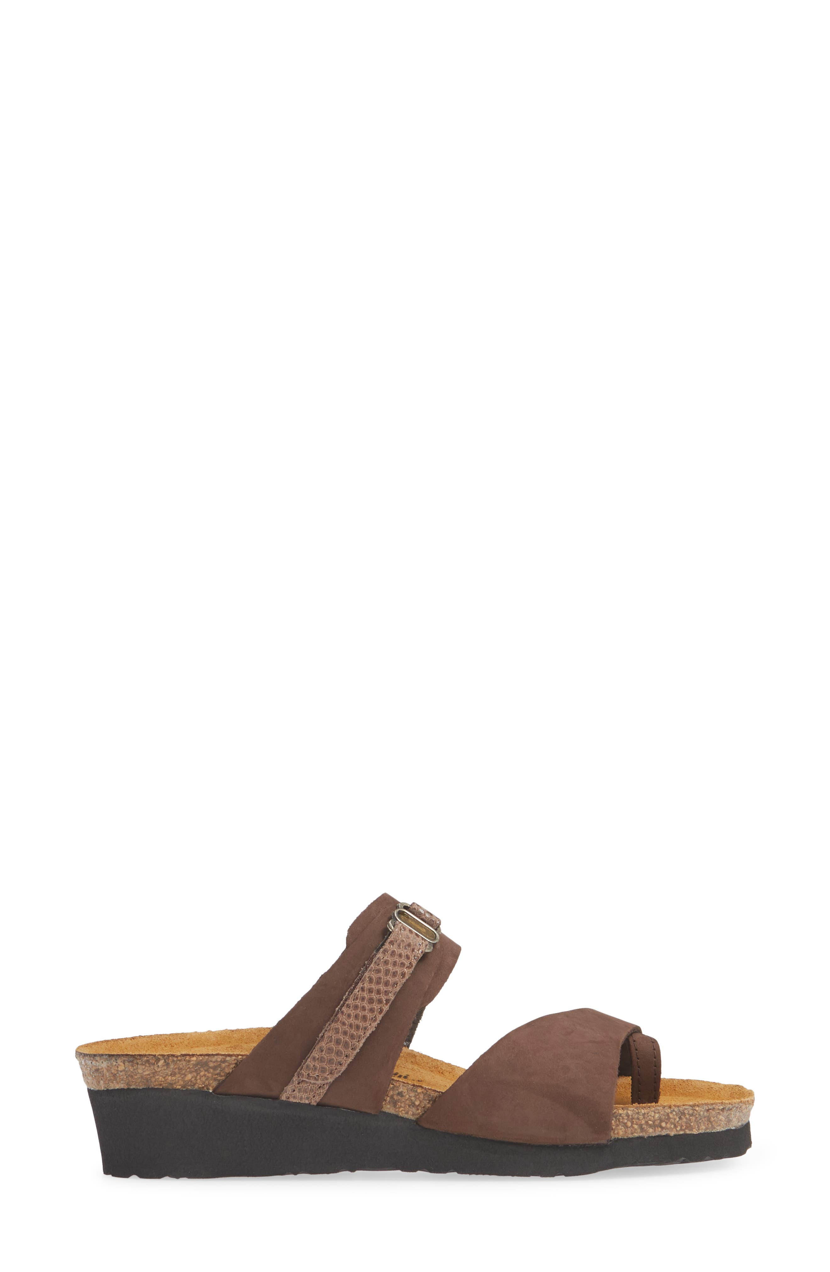 NAOT, Jessica Sandal, Alternate thumbnail 3, color, COFFEE BEAN NUBUCK LEATHER
