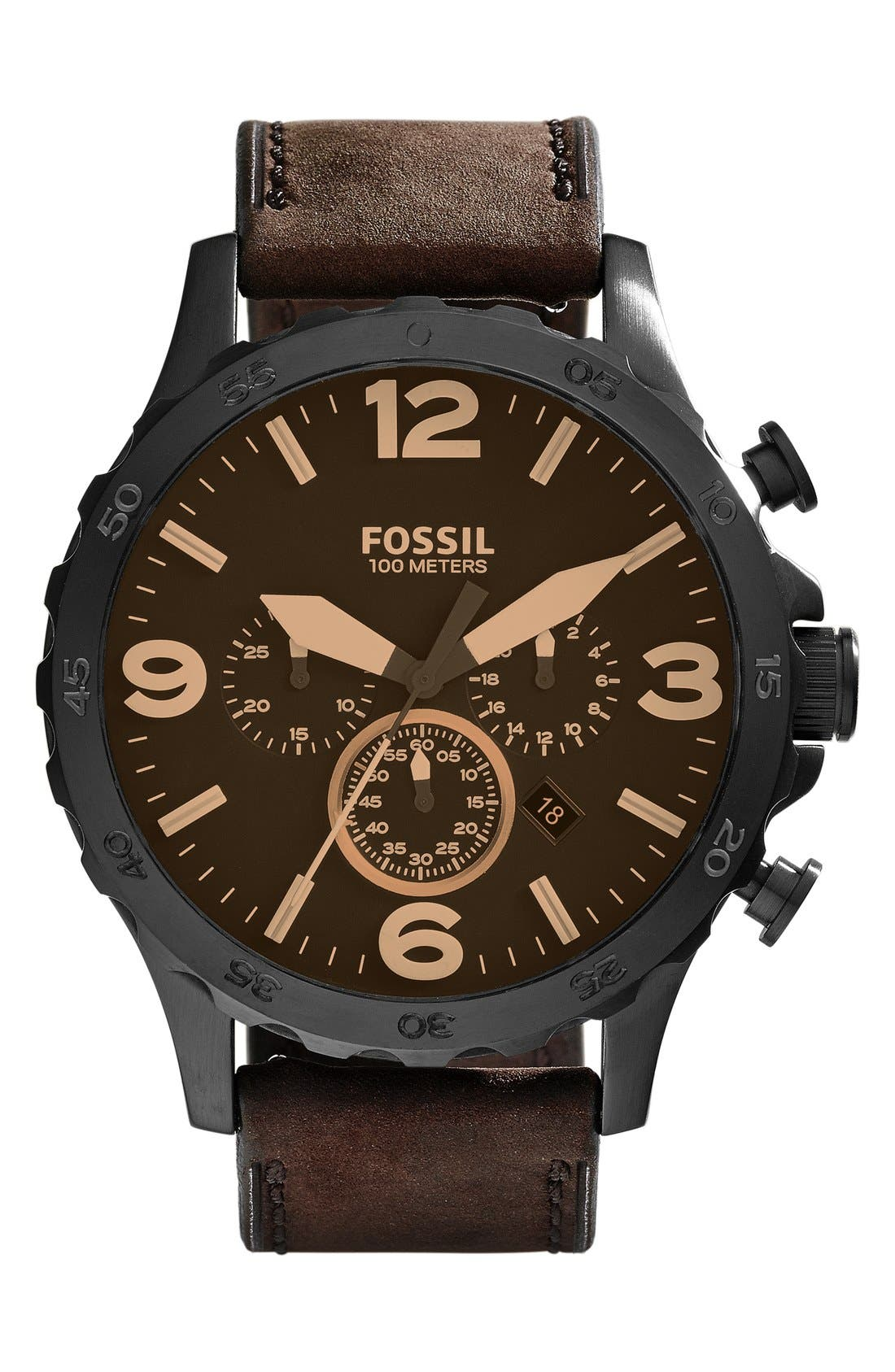 FOSSIL, 'Nate IP' Chronograph Watch, 50mm, Main thumbnail 1, color, BROWN/ BLACK