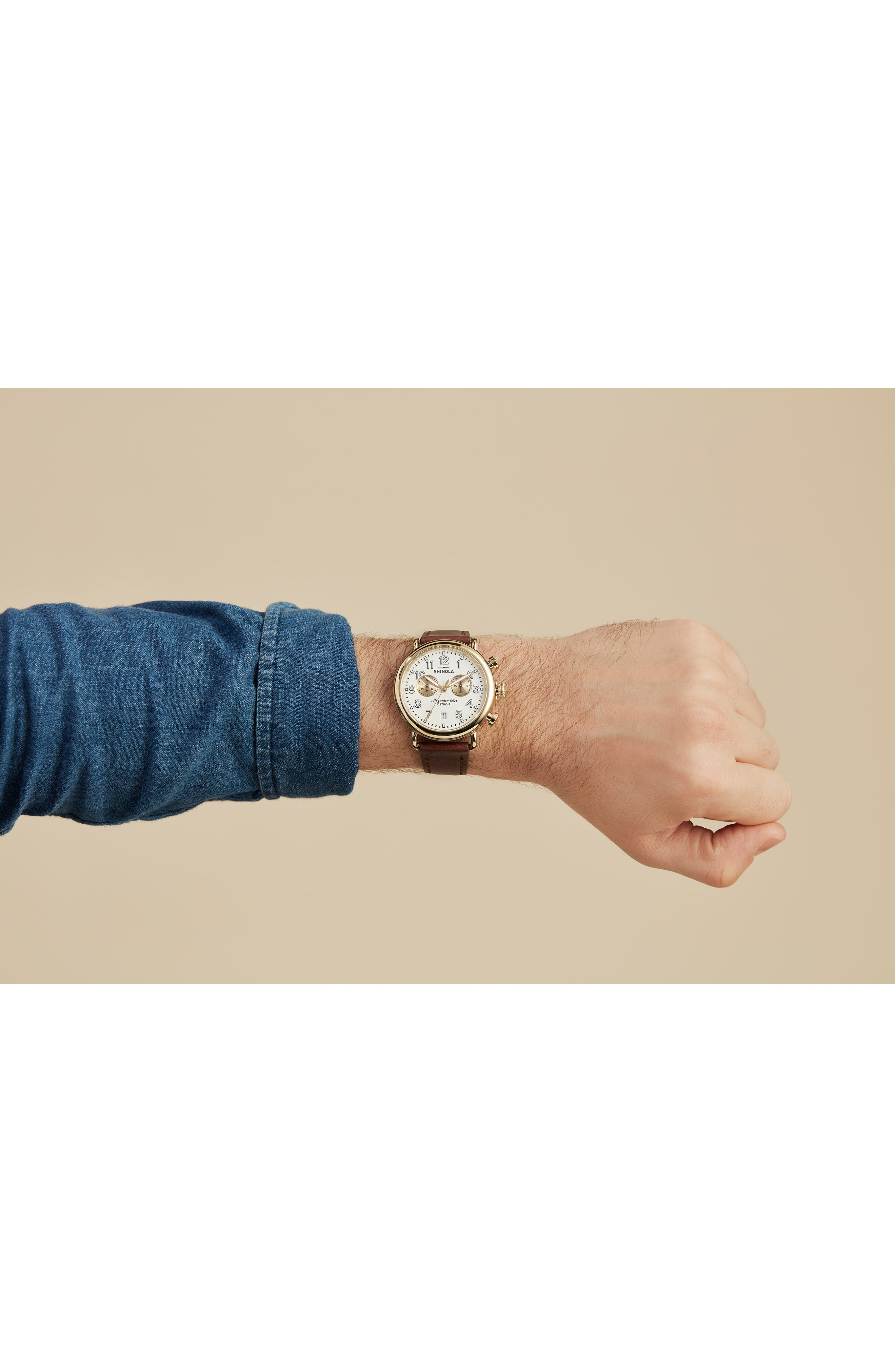 SHINOLA, 'The Runwell Chrono' Leather Strap Watch, 41mm, Alternate thumbnail 6, color, BROWN CATTAIL/ IVORY/ GOLD