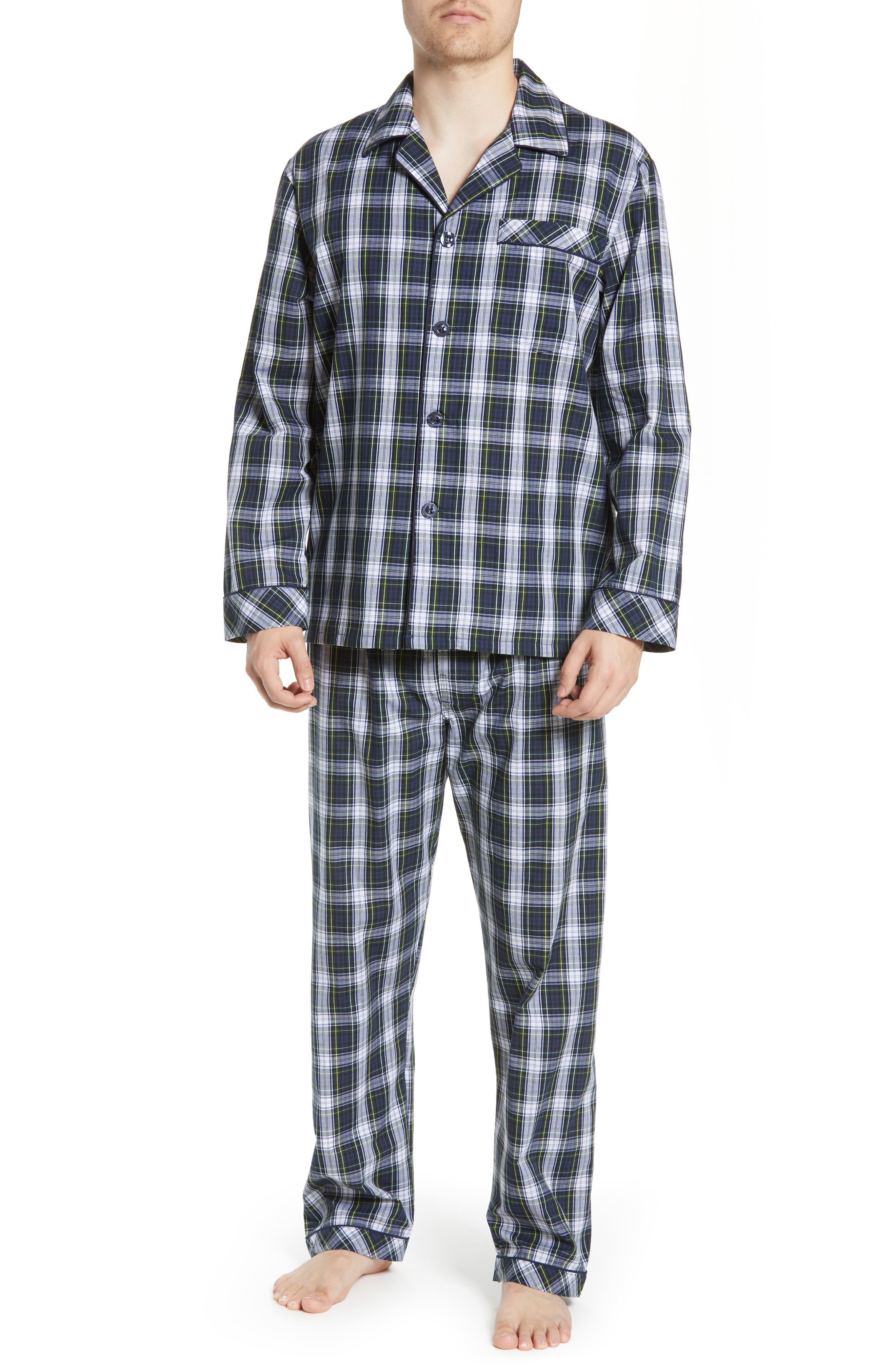 MAJESTIC INTERNATIONAL, Edward Easy Care Pajamas, Main thumbnail 1, color, GREEN