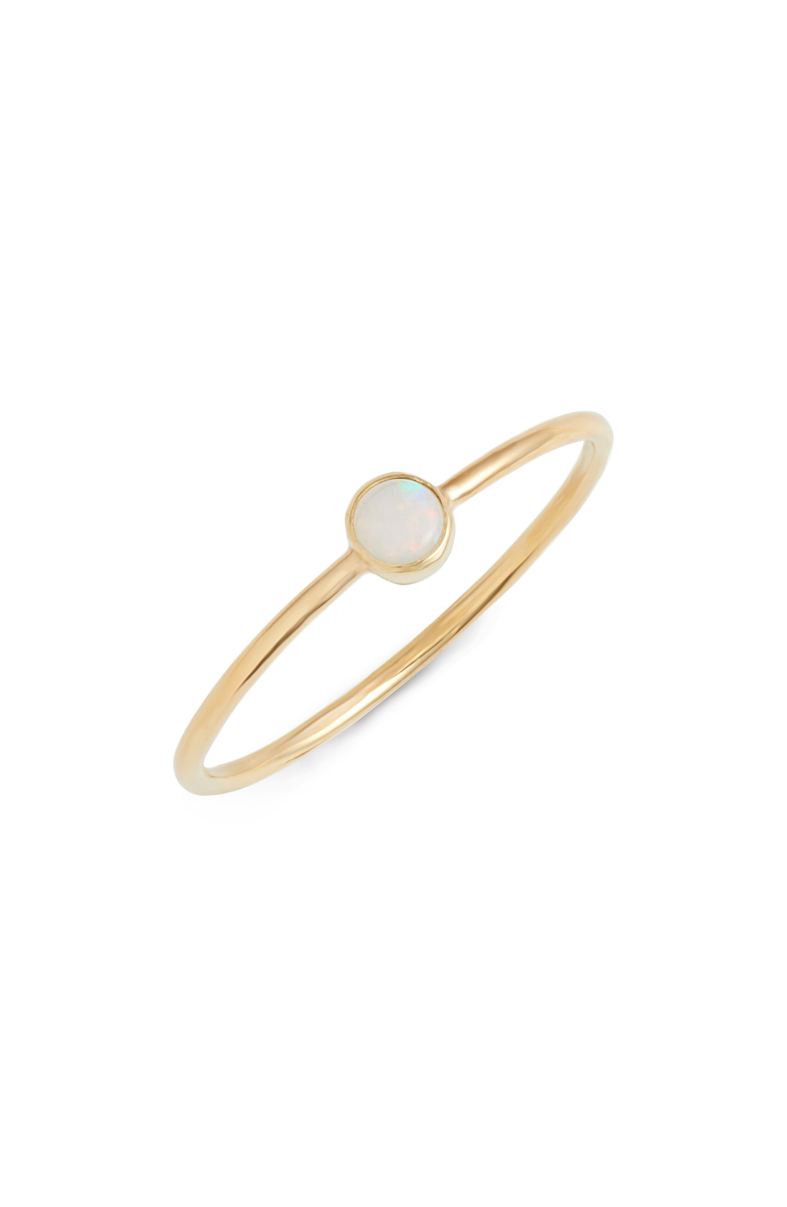 ZOË CHICCO Opal Stacking Ring, Main, color, YELLOW GOLD/ OPAL