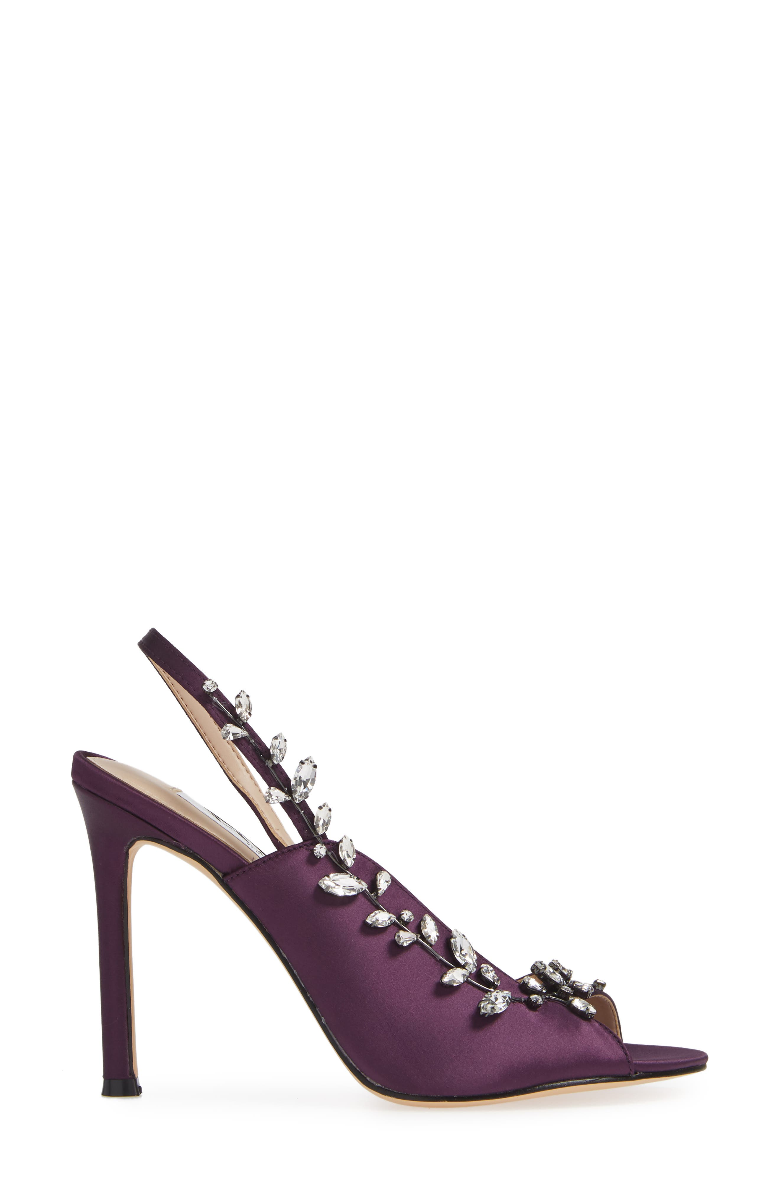 NINA, Deanna Embellished Sandal, Alternate thumbnail 3, color, EGGPLANT SATIN