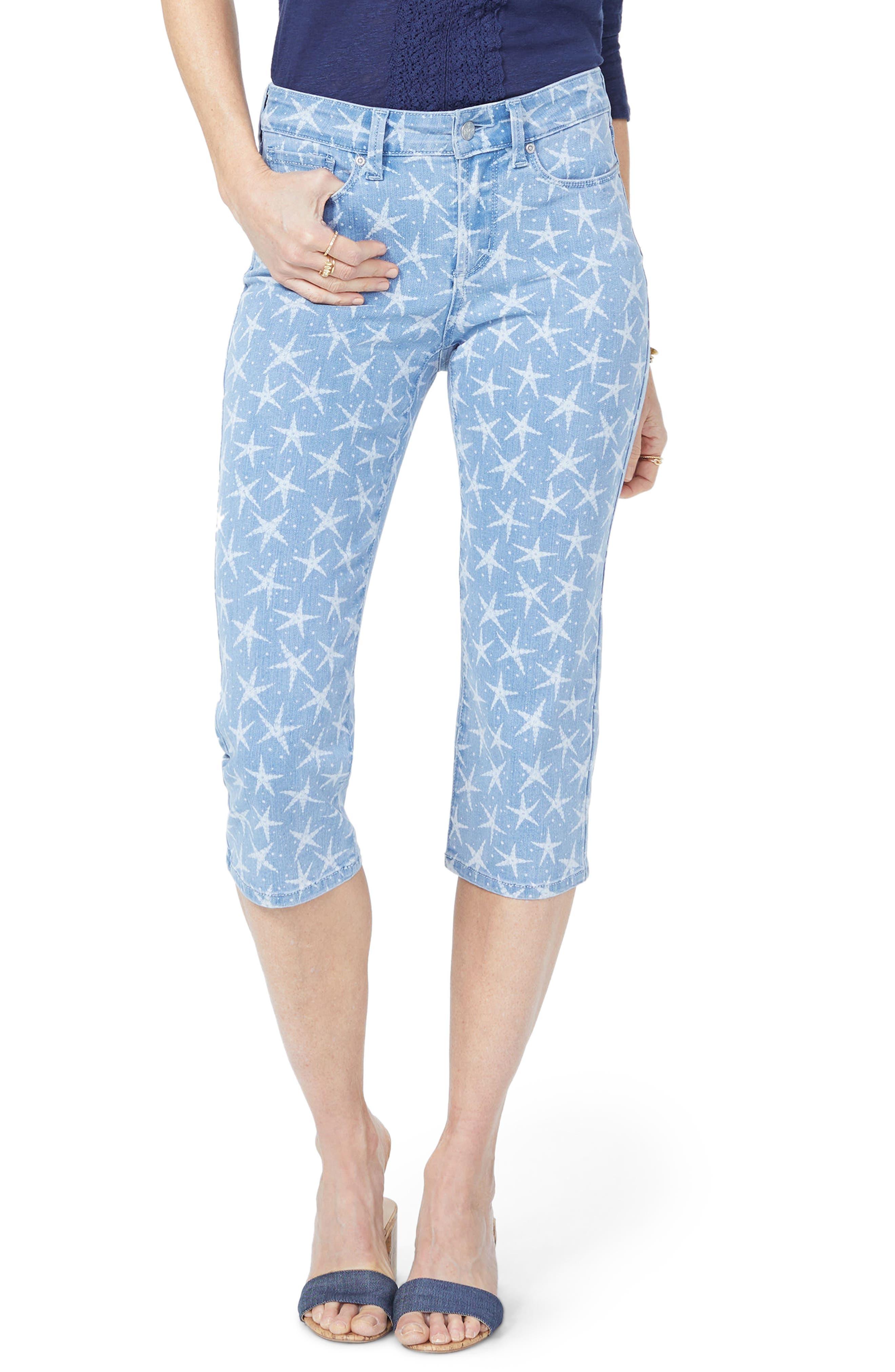 NYDJ High Waist Seastar Print Stretch Crop Jeans, Main, color, SEASTAR DISCHARGE PRINT