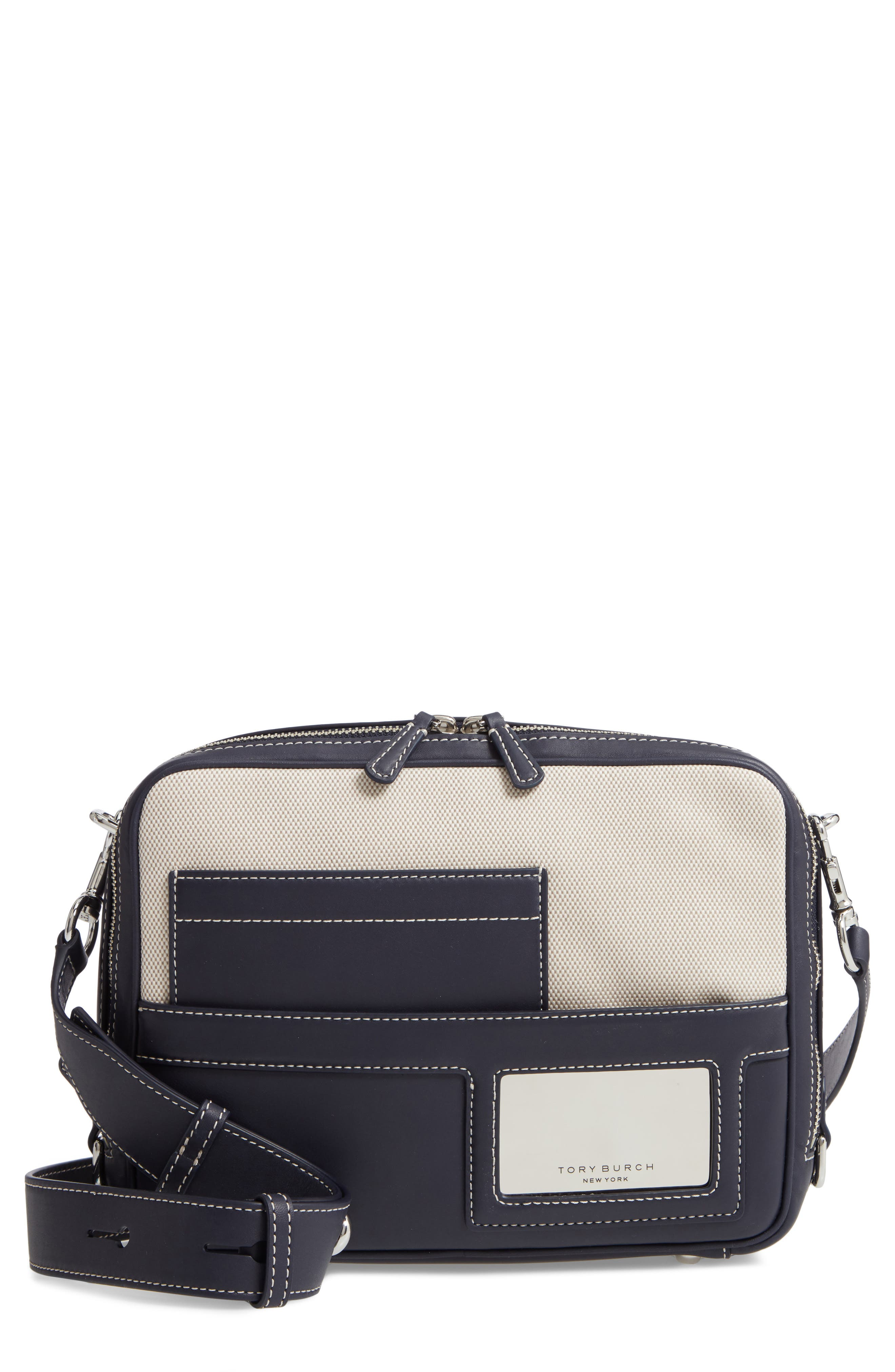 TORY BURCH Leather & Canvas Camera Bag, Main, color, MIDNIGHT