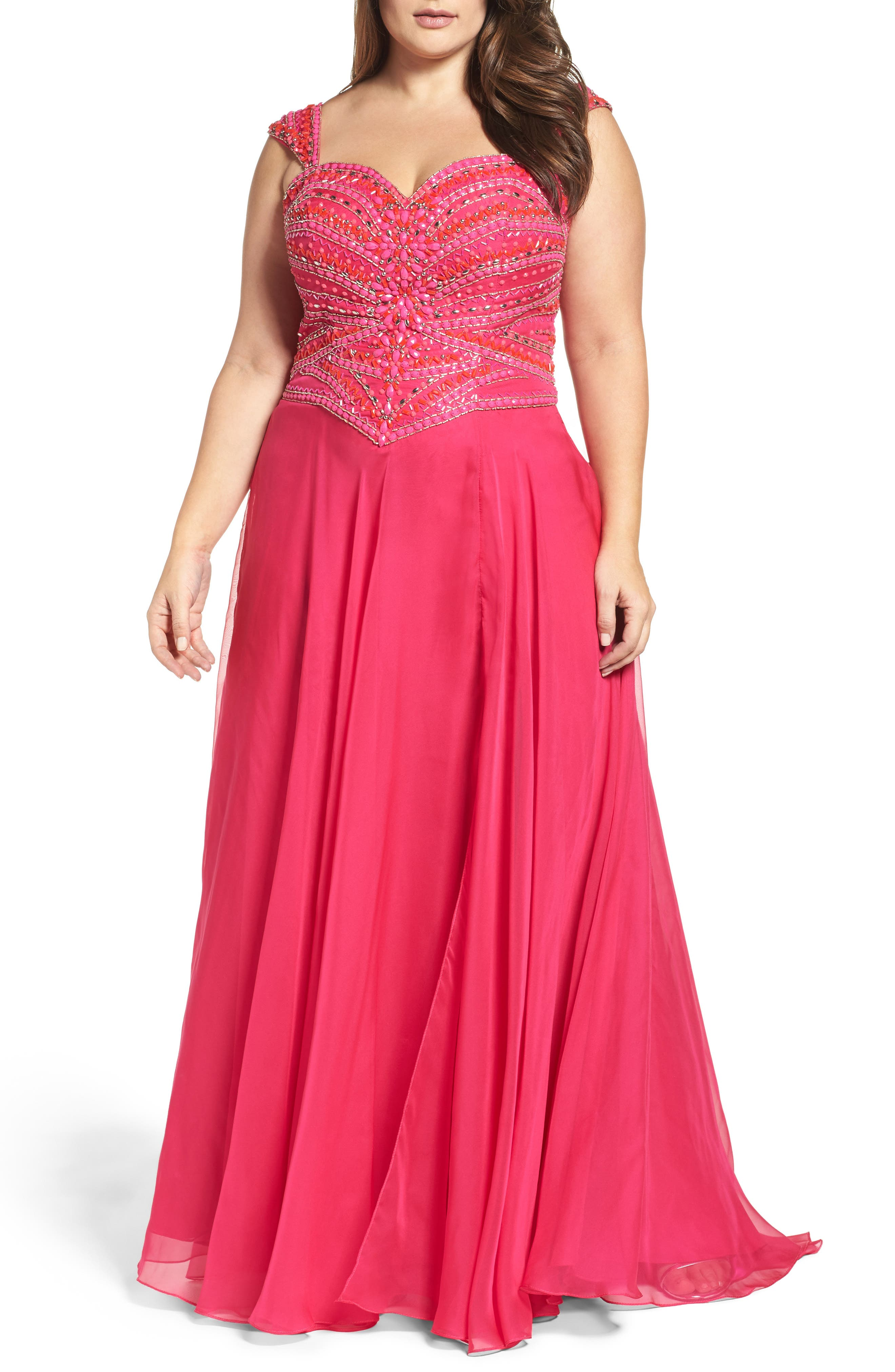 MAC DUGGAL, Embellished Gown, Main thumbnail 1, color, LIPSTICK