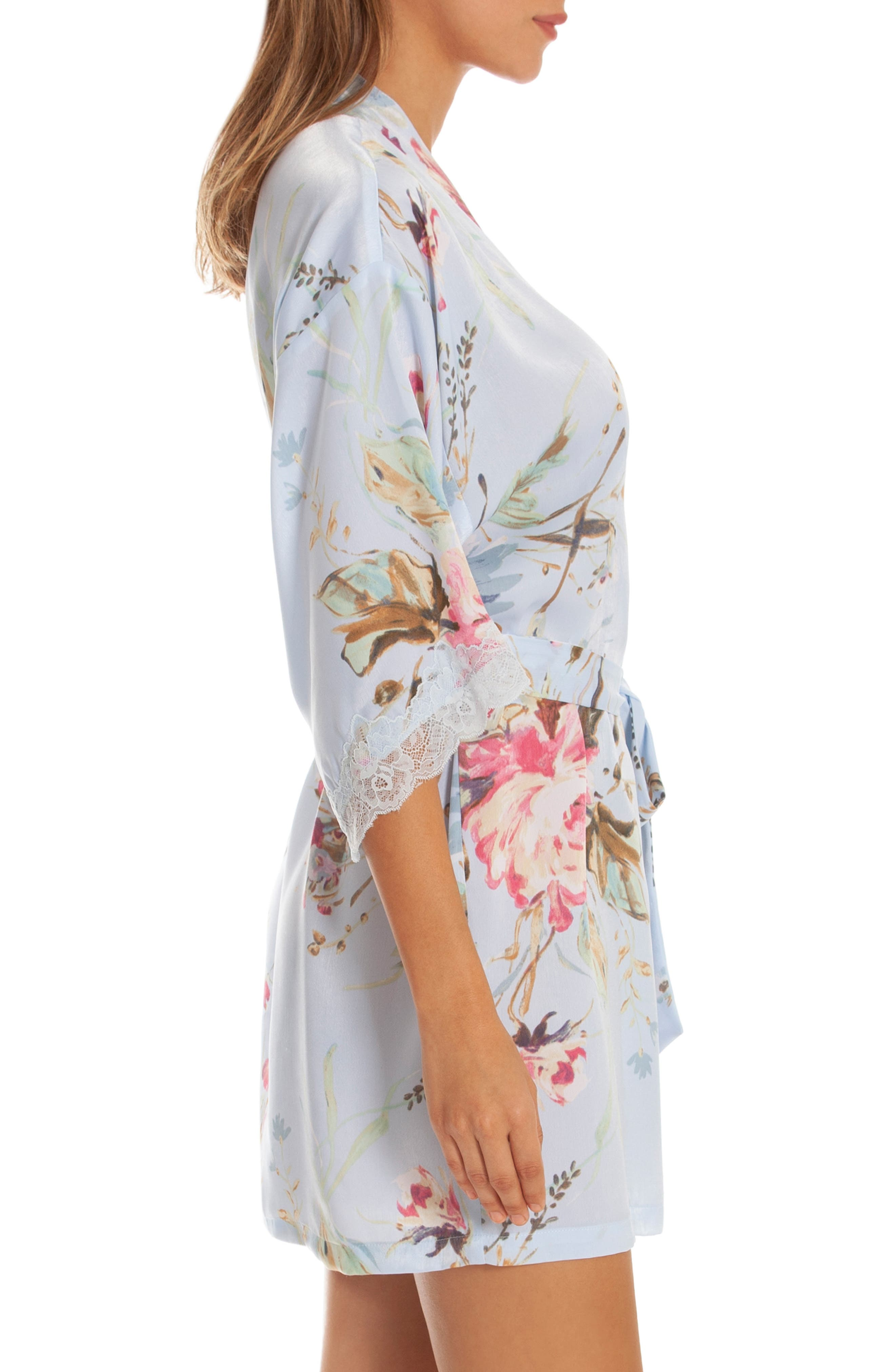 IN BLOOM BY JONQUIL, Chiffon Wrap, Alternate thumbnail 3, color, BLUE ROSE PRINT