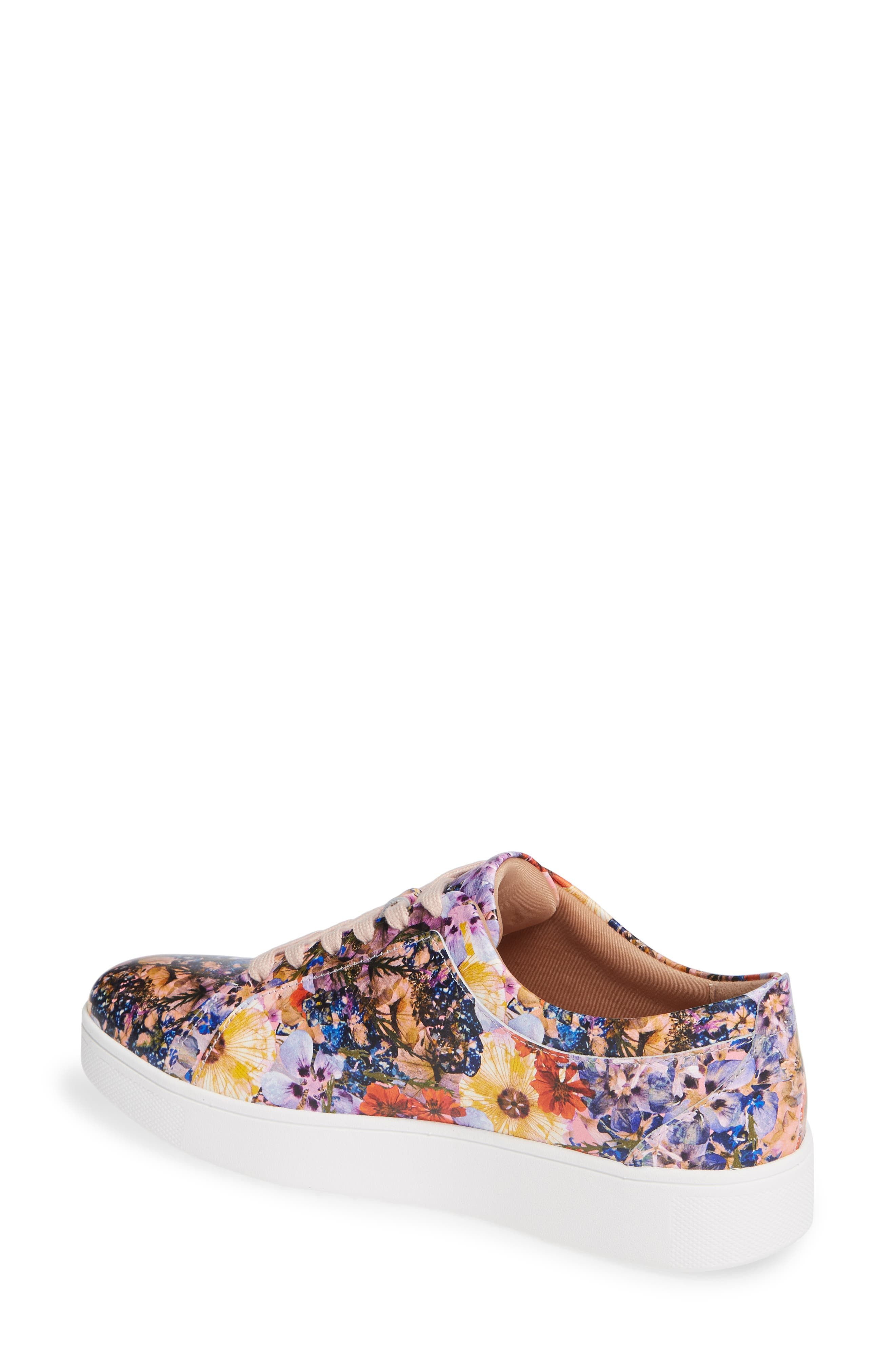 FITFLOP, Rally Flower Crush Leather Sneaker, Alternate thumbnail 2, color, OYSTER PINK FLOWER